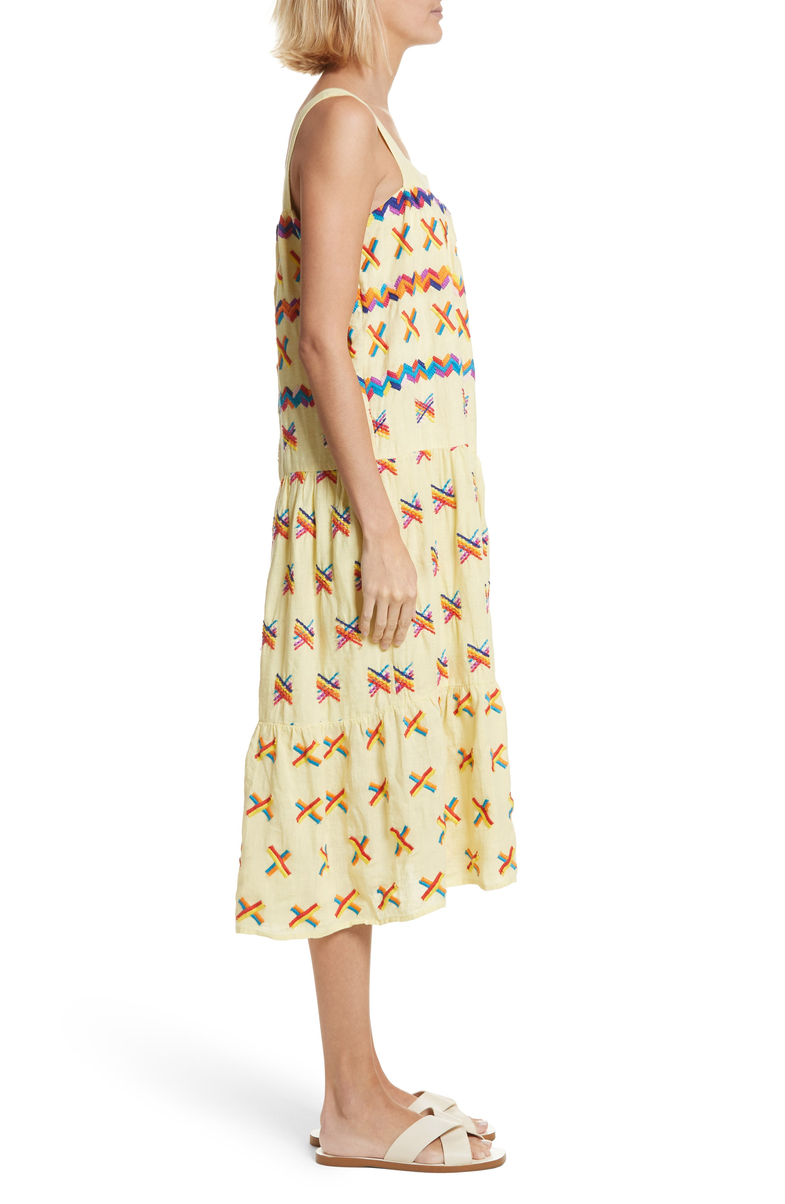 Remi Embroidered Midi Dress,                             Alternate thumbnail 3, color,                             Baby Yellow
