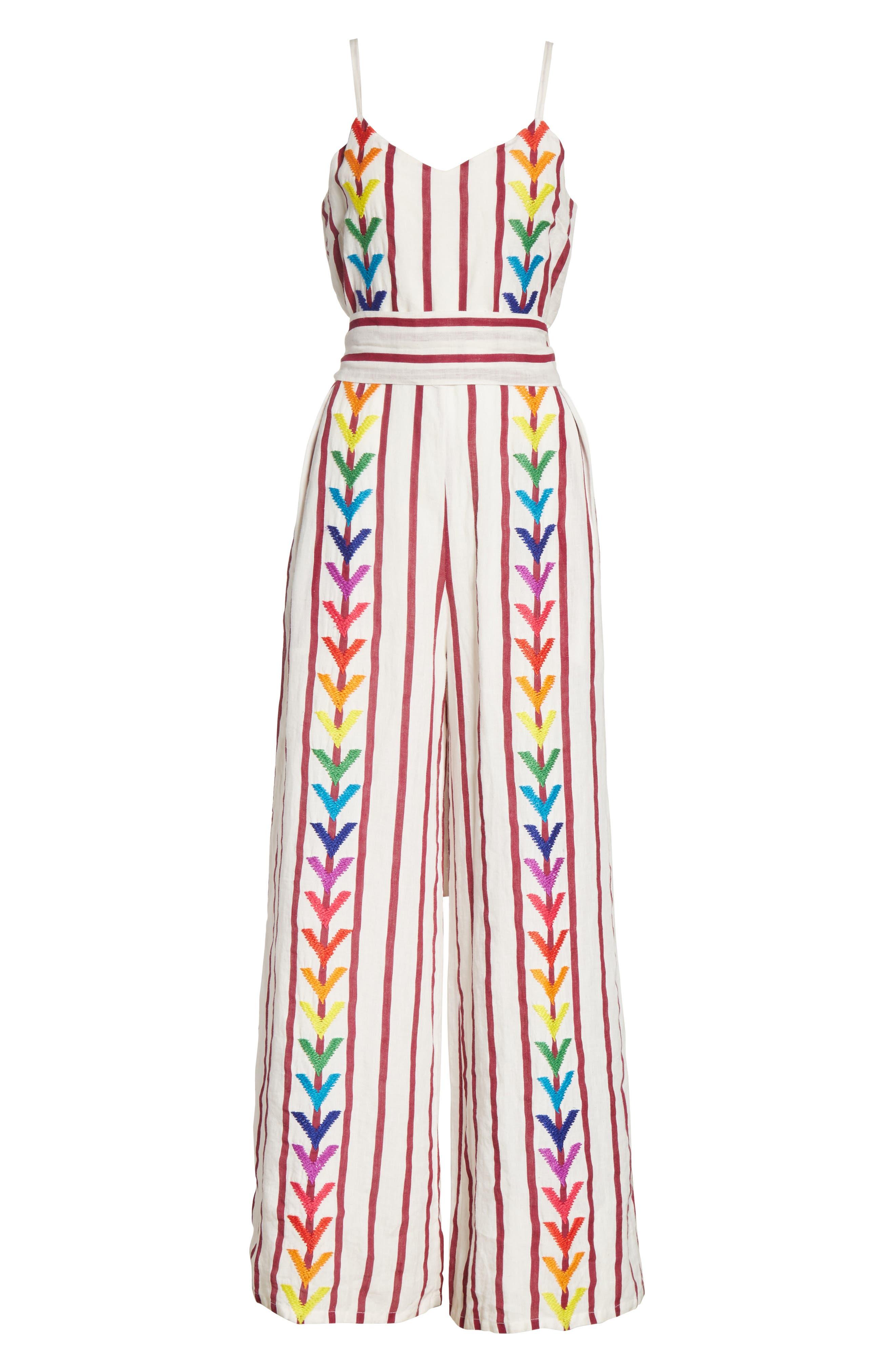 Lisa Stripe Jumpsuit,                             Alternate thumbnail 6, color,                             Off White/ Burgundy
