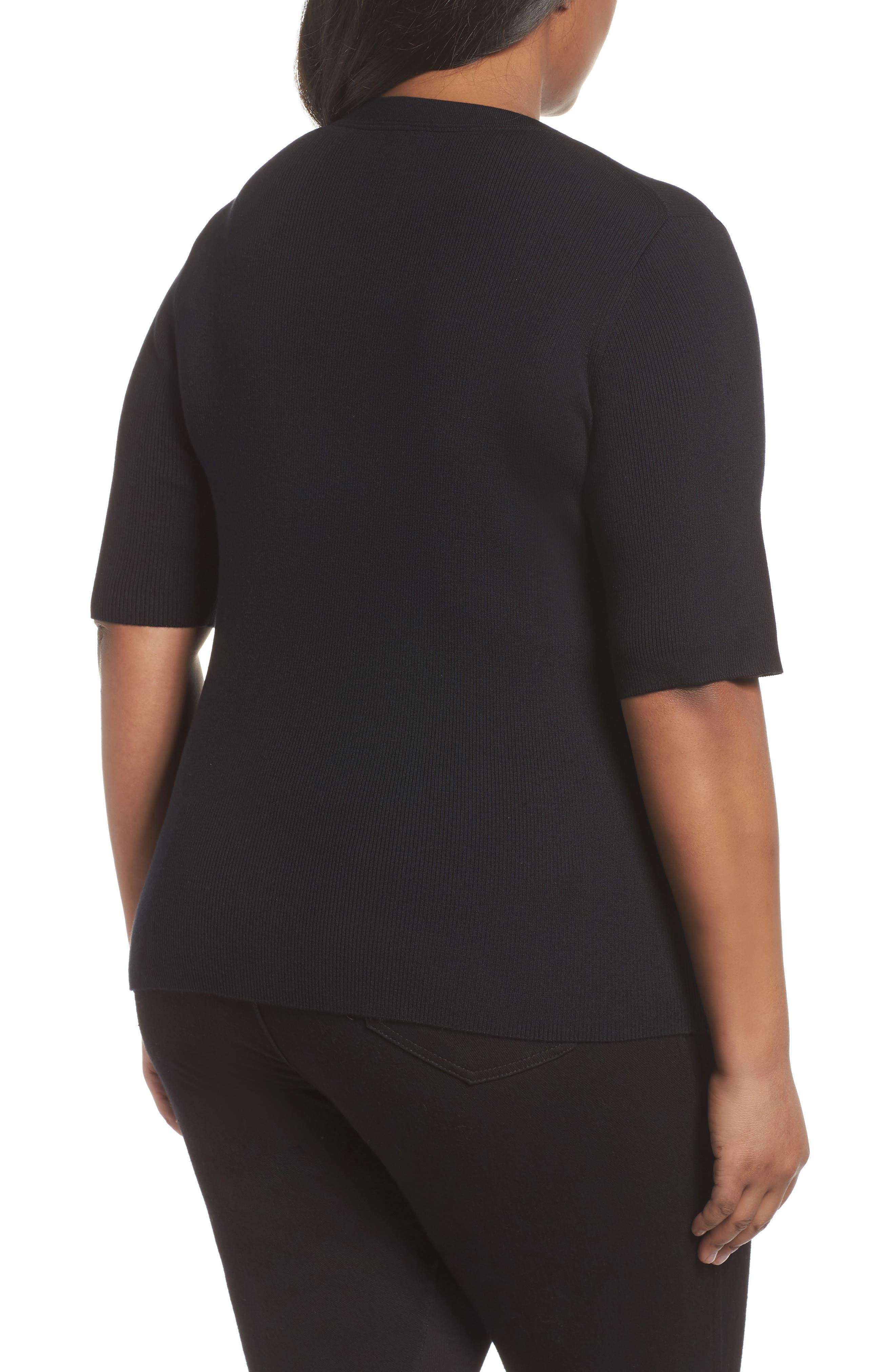Skinny Ribbed Sweater,                             Alternate thumbnail 2, color,                             Black