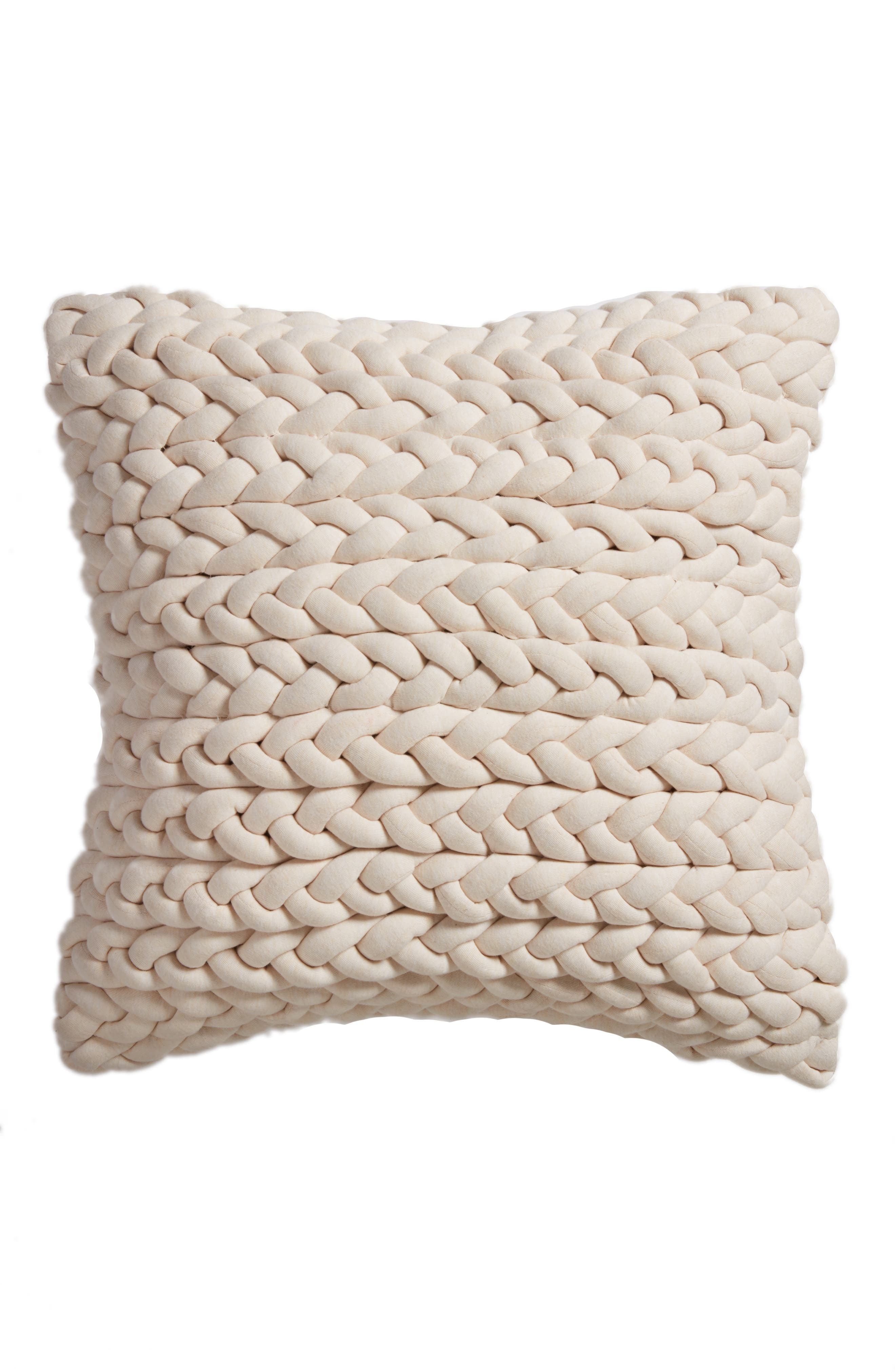 Jersey Braid Accent Pillow,                         Main,                         color, Beige Beach