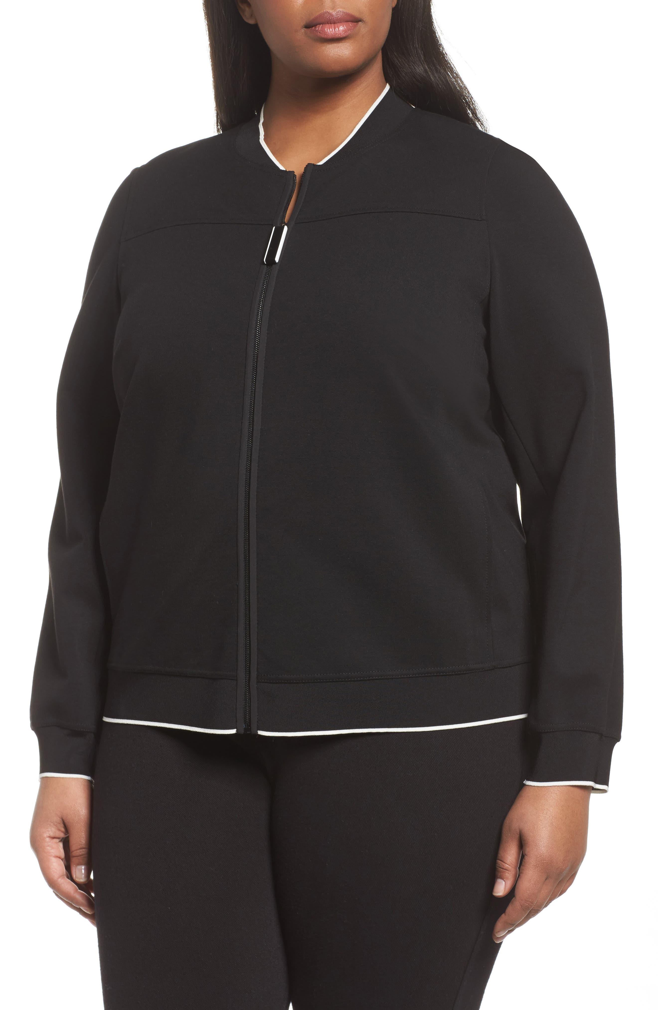 Alison Zip Front Jacket,                             Main thumbnail 1, color,                             Black