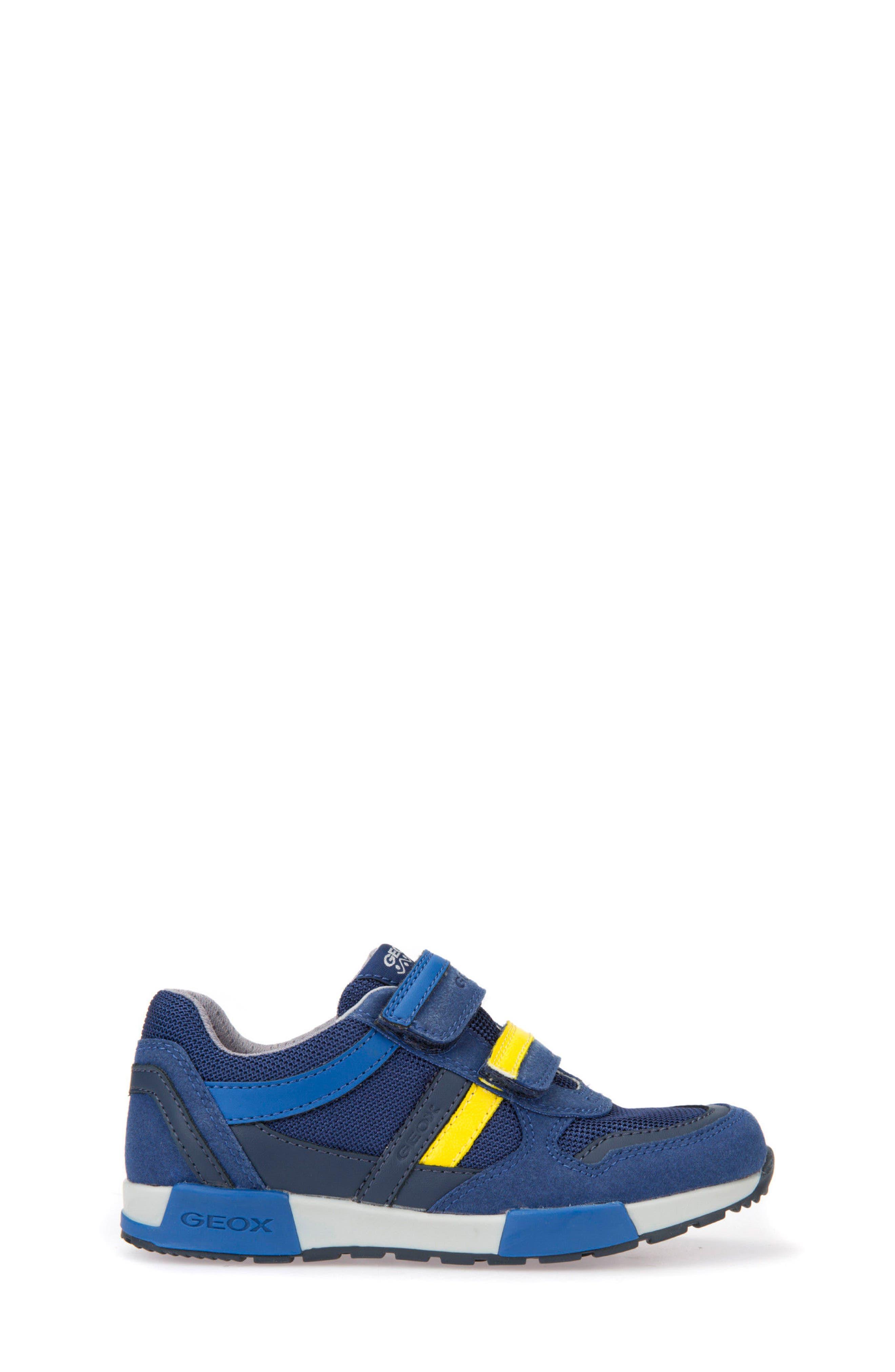 Alfier Stripe Low Top Sneaker,                             Alternate thumbnail 3, color,                             Blue/ Yellow