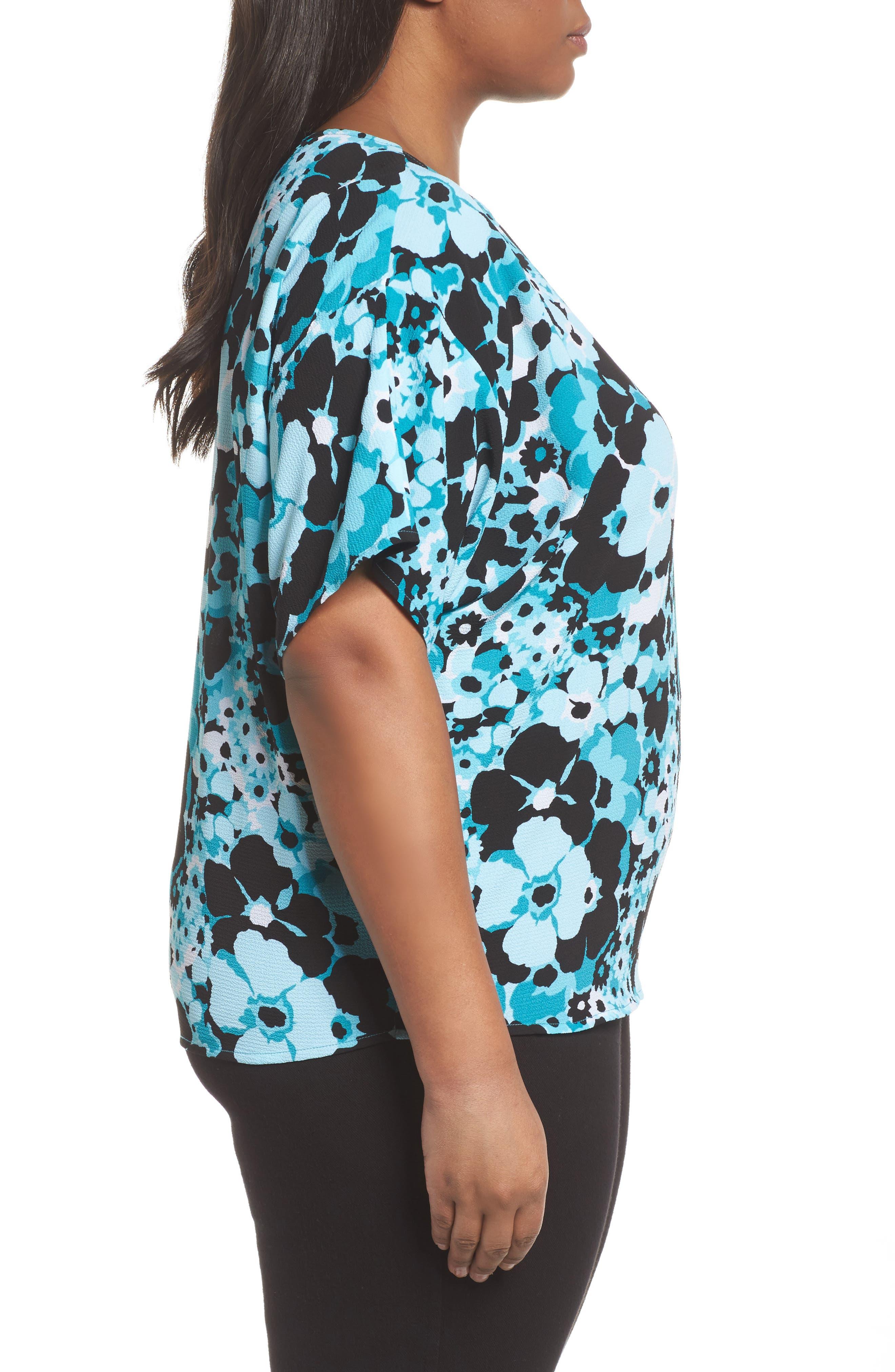 Spring Side Tie Crepe Top,                             Alternate thumbnail 3, color,                             Tile Blue/ Black Multi