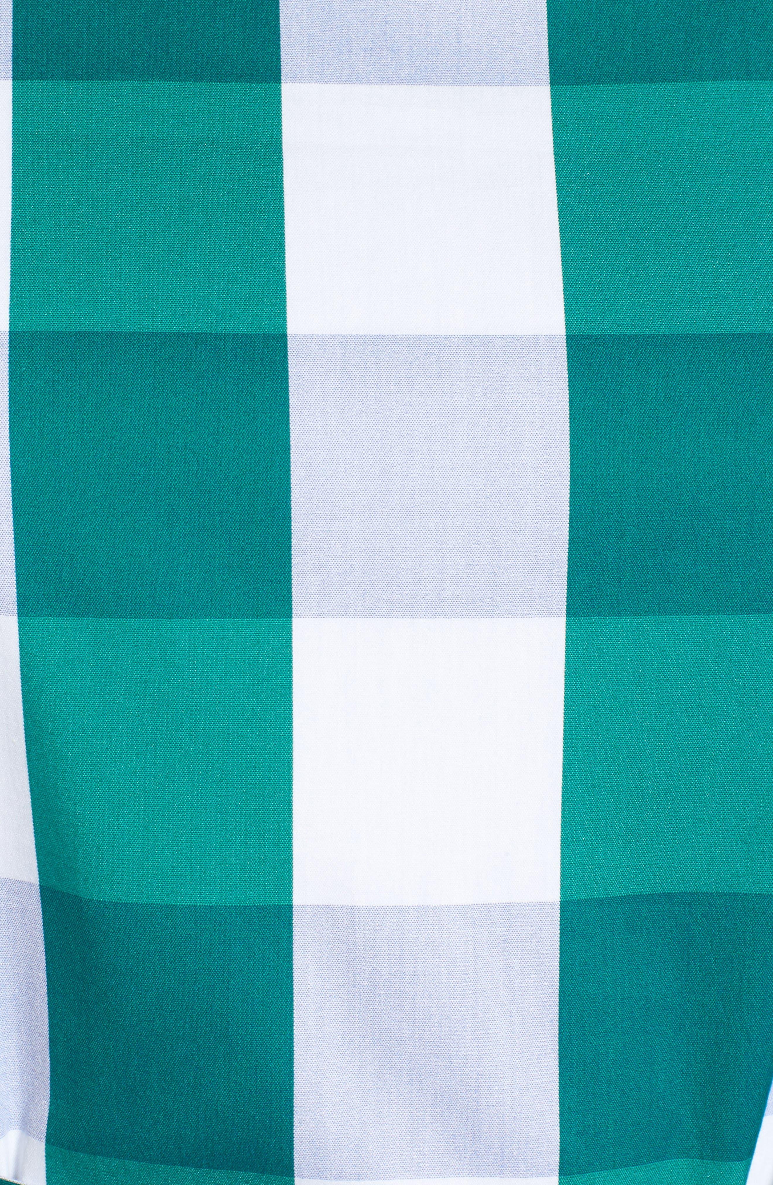 Ruffle & Bow Dress,                             Alternate thumbnail 6, color,                             Green- Blue Gingham