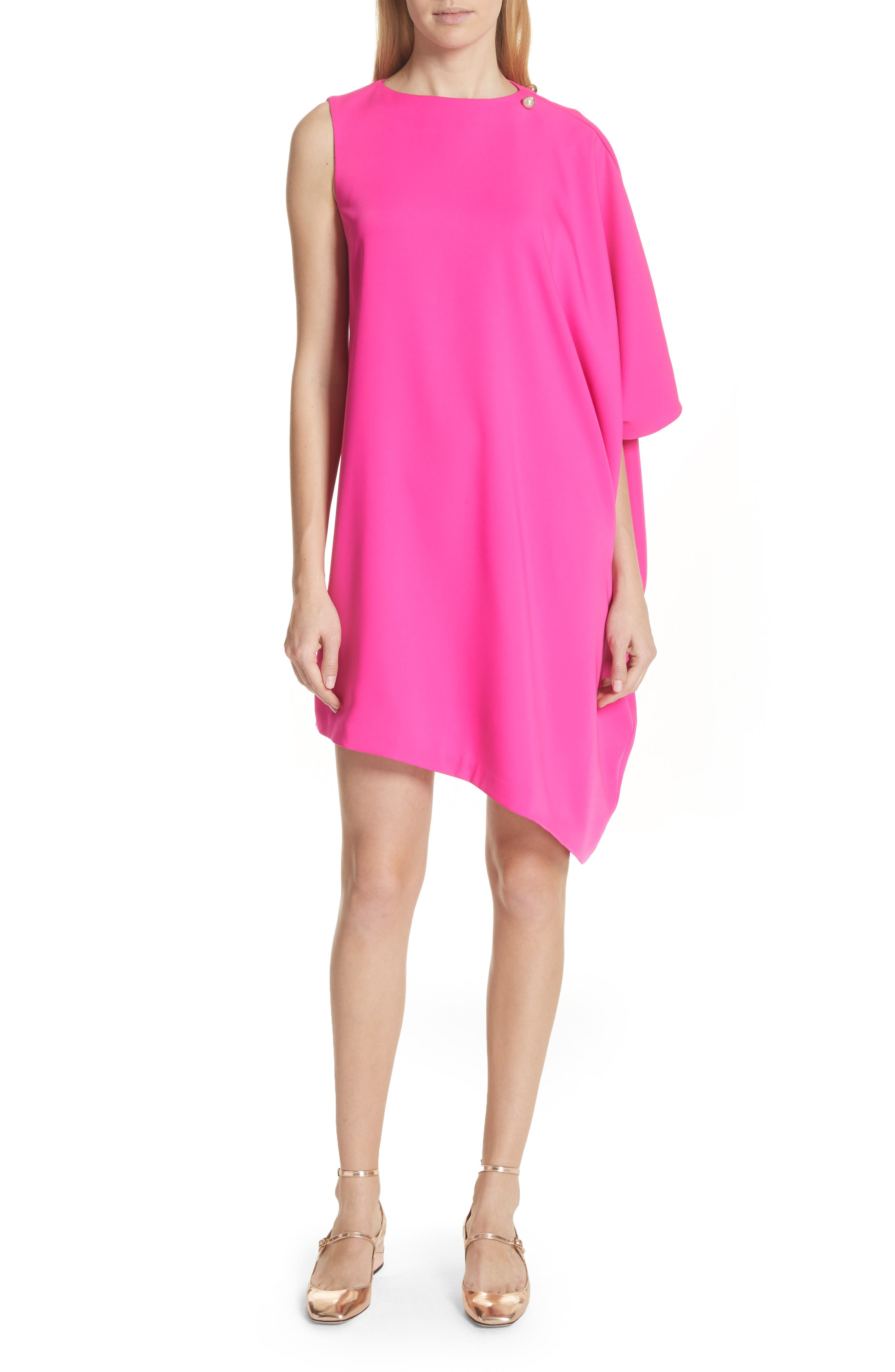 Oversize Drape Front Dress,                             Main thumbnail 1, color,                             Fuchsia