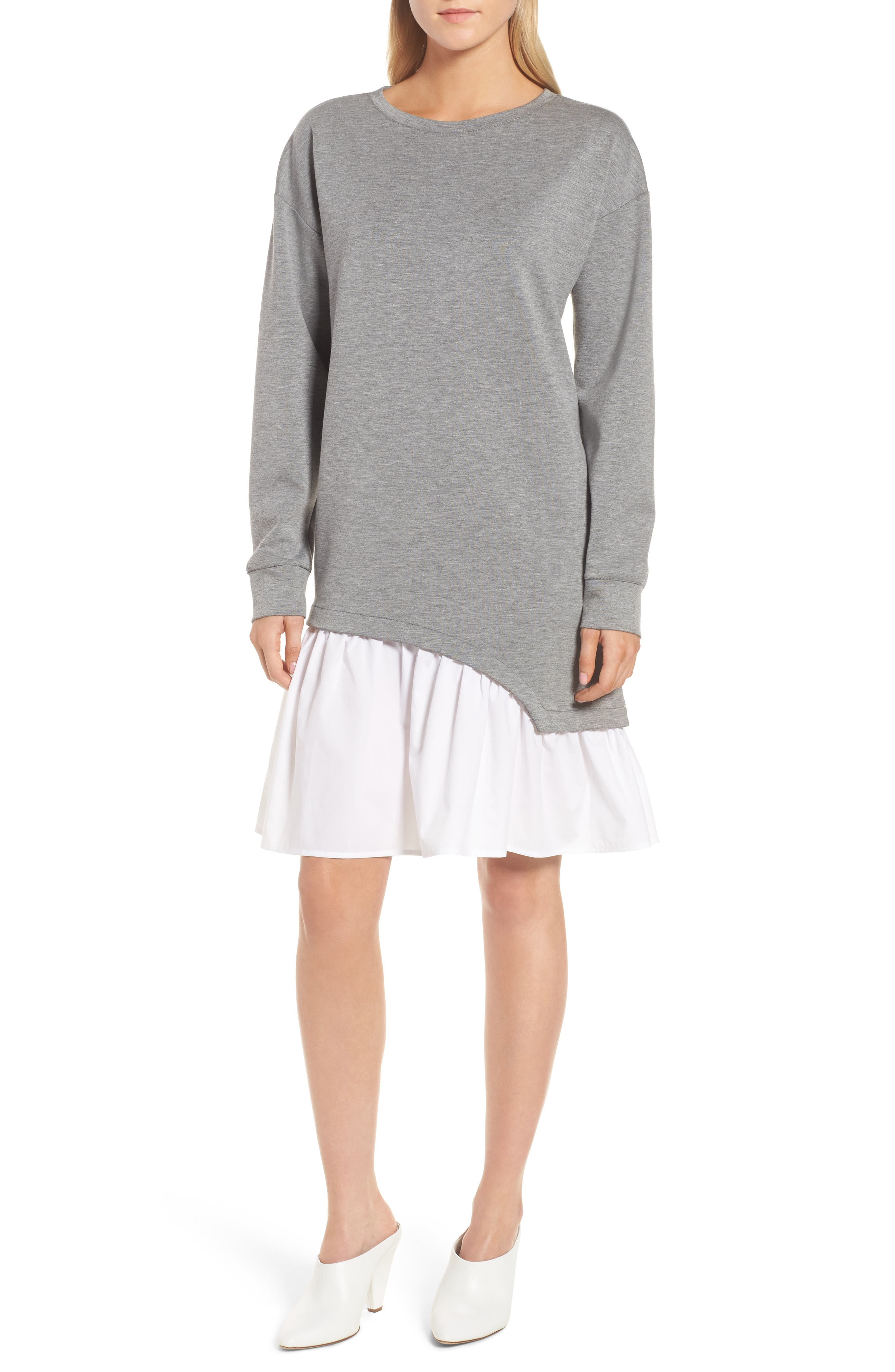 Mixed Media Sweatshirt Dress,                         Main,                         color, Grey Heather