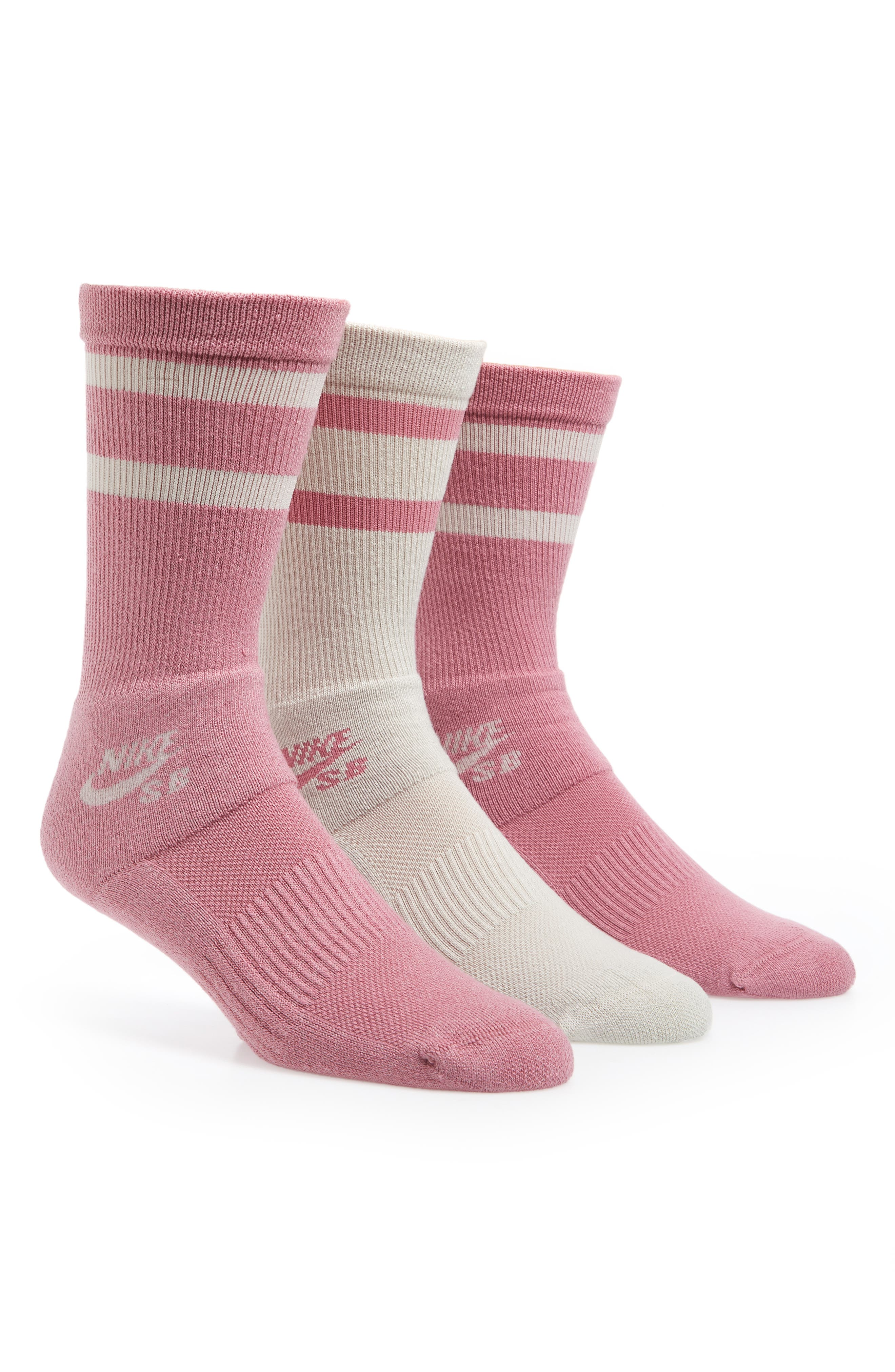 SB 3-Pack Crew Socks,                             Main thumbnail 1, color,                             Pink