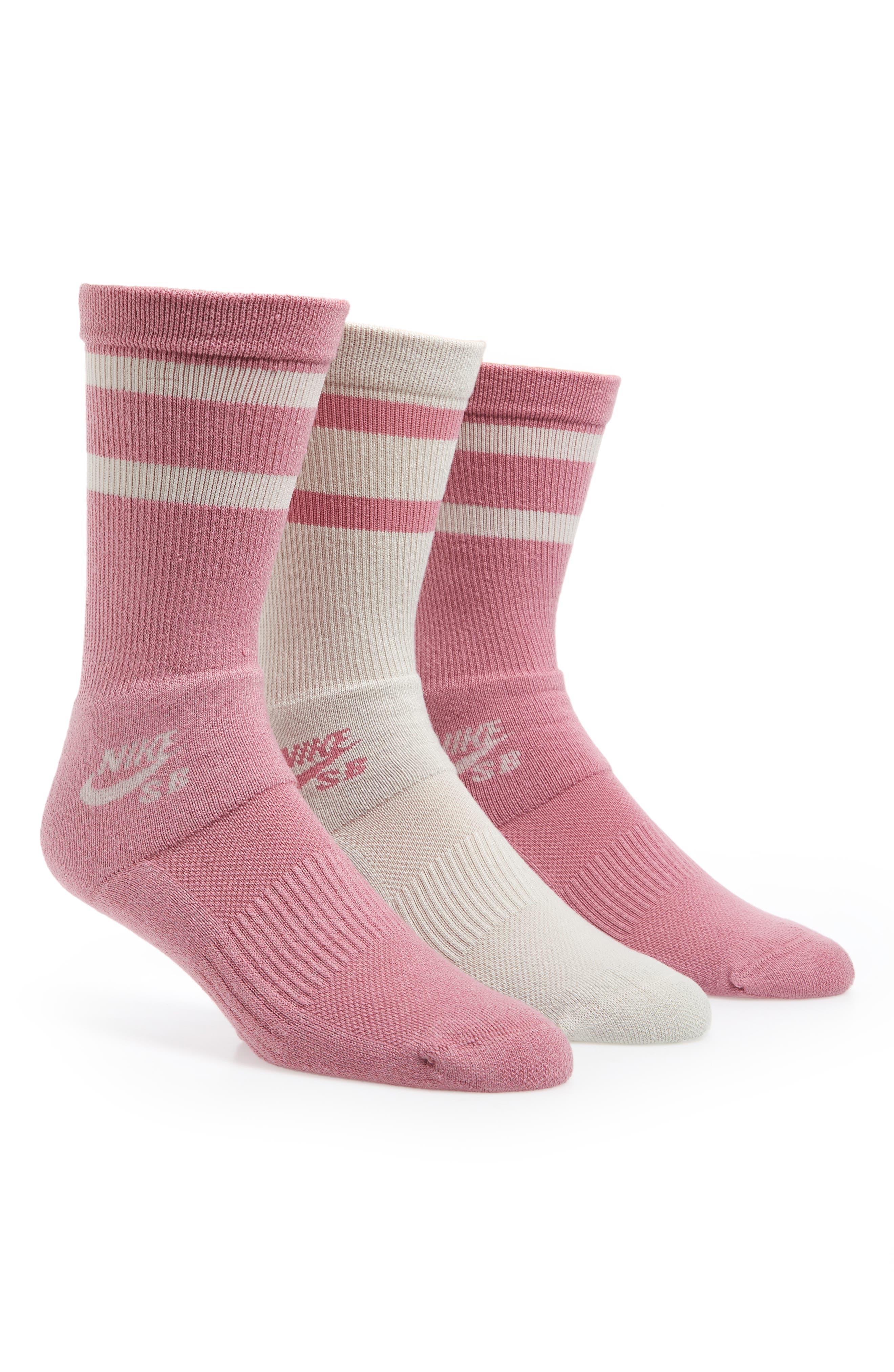SB 3-Pack Crew Socks,                         Main,                         color, Pink
