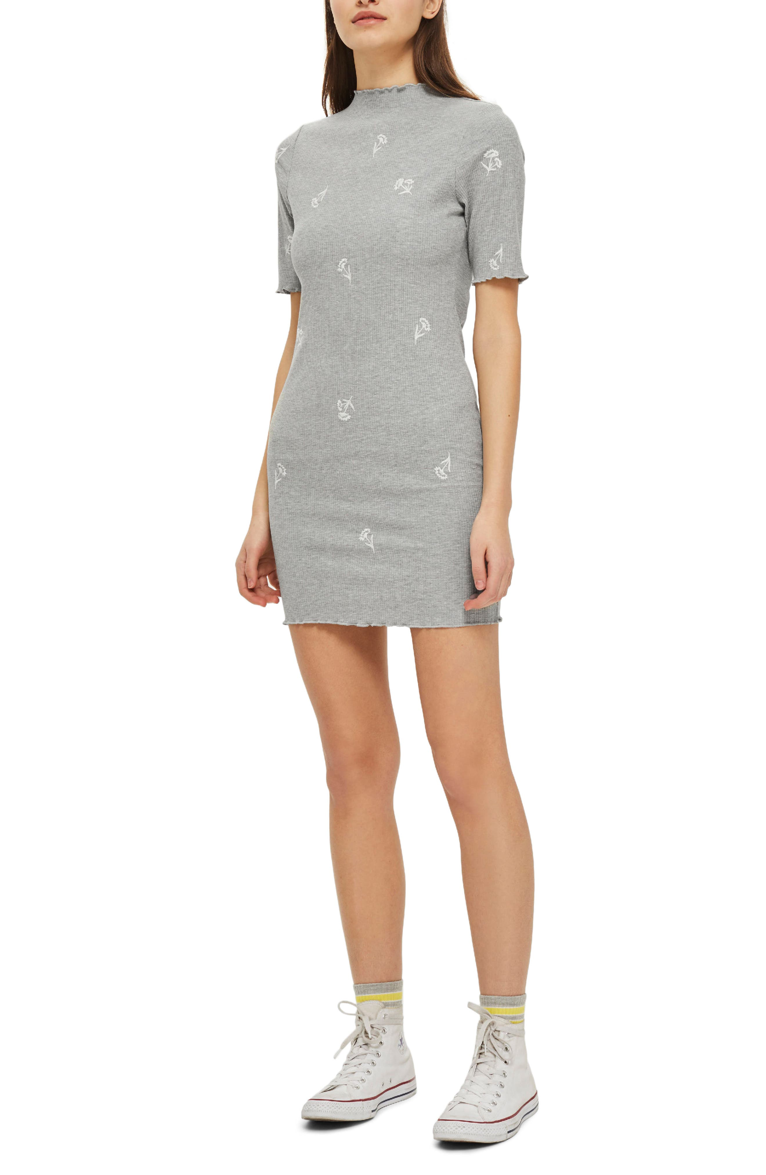 Embroidered Ribbed Body-Con Dress,                         Main,                         color, Grey Marl