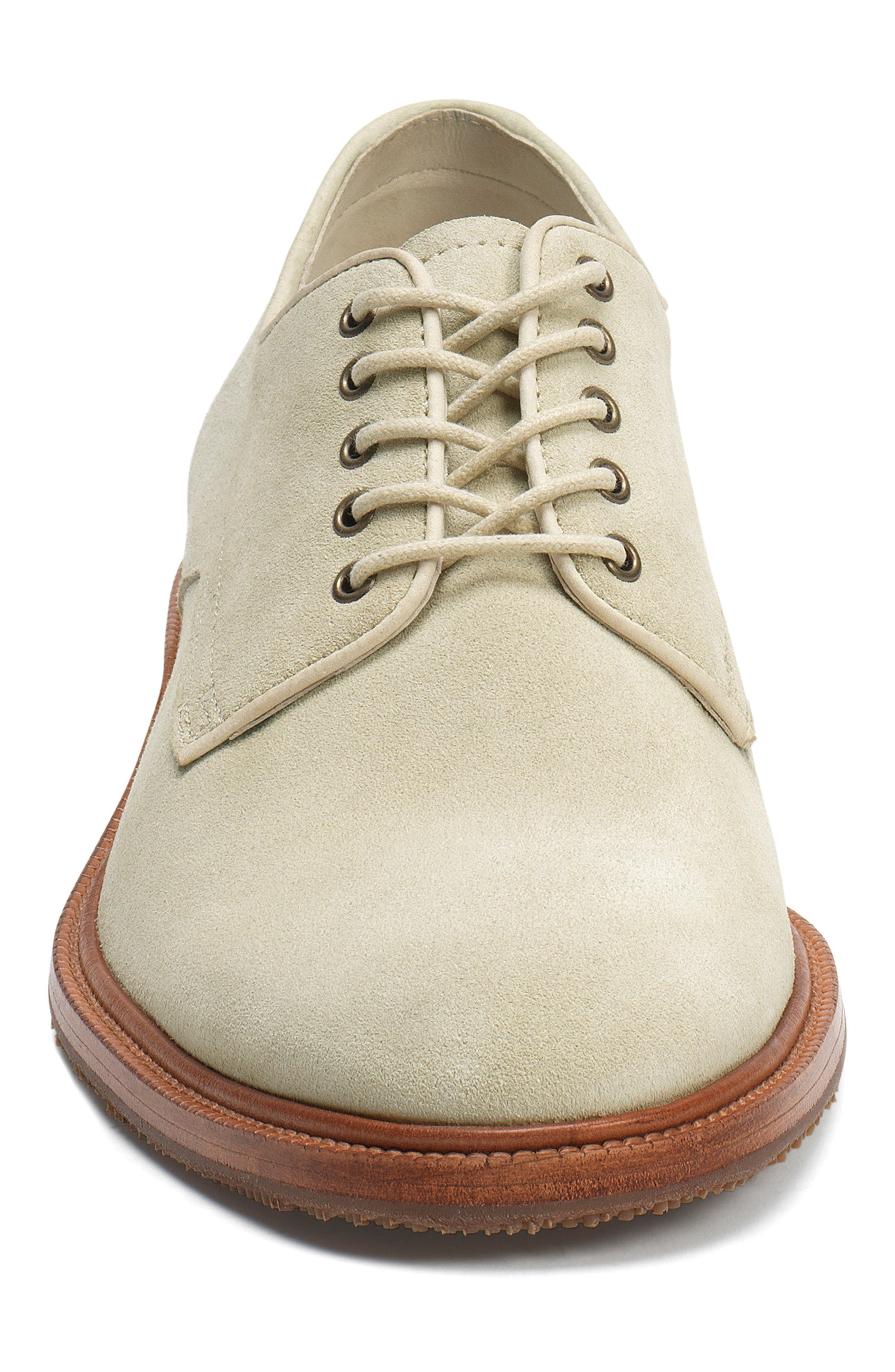 Landry Plain Toe Derby,                             Alternate thumbnail 4, color,                             Stone White Suede