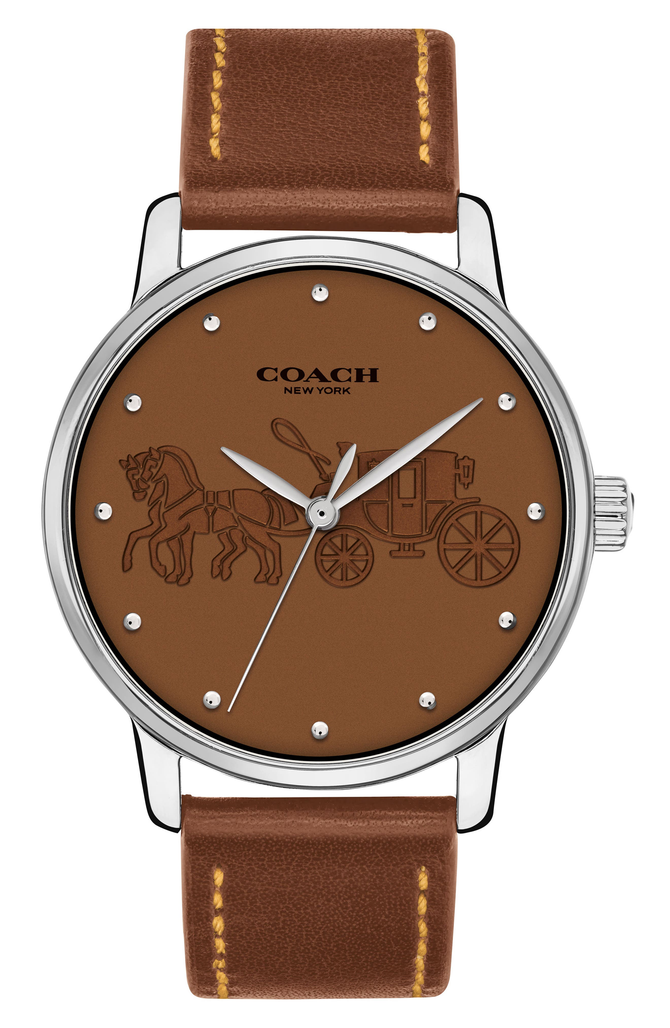 Grand Leather Strap Watch, 36mm,                             Main thumbnail 1, color,                             Saddle/ Silver