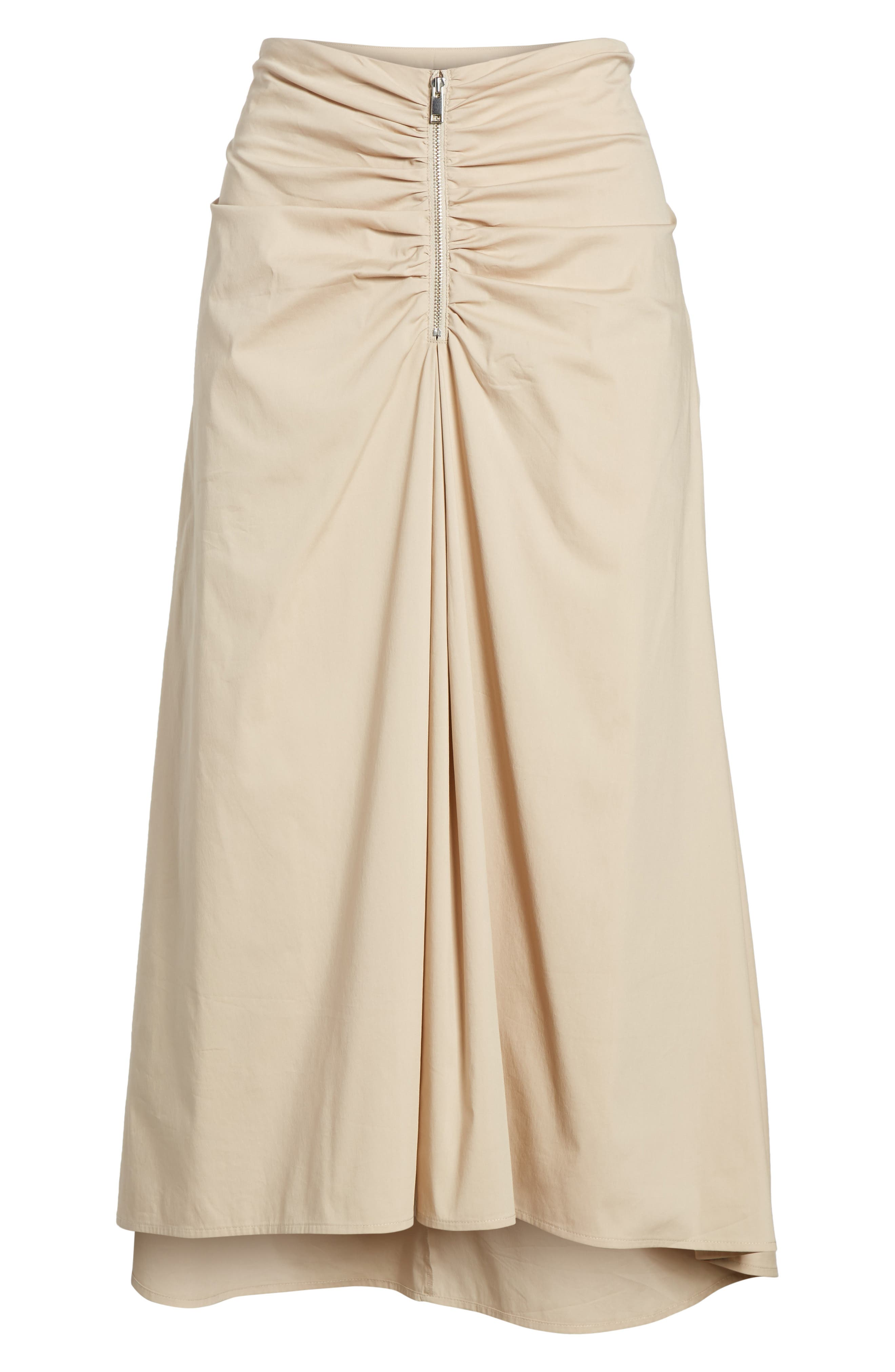 Ruched Front Midi Skirt,                             Alternate thumbnail 7, color,                             Tan Oxford