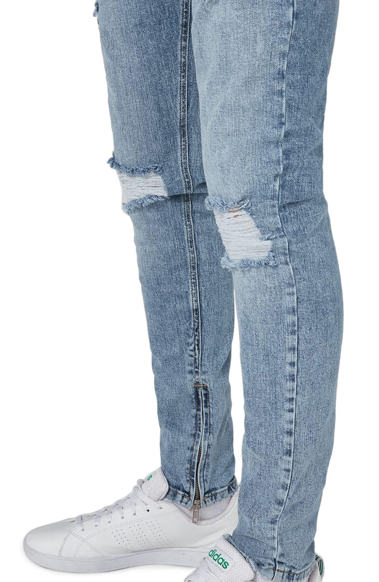 Ripped Acid Wash Skinny Jeans,                             Alternate thumbnail 3, color,                             Blue