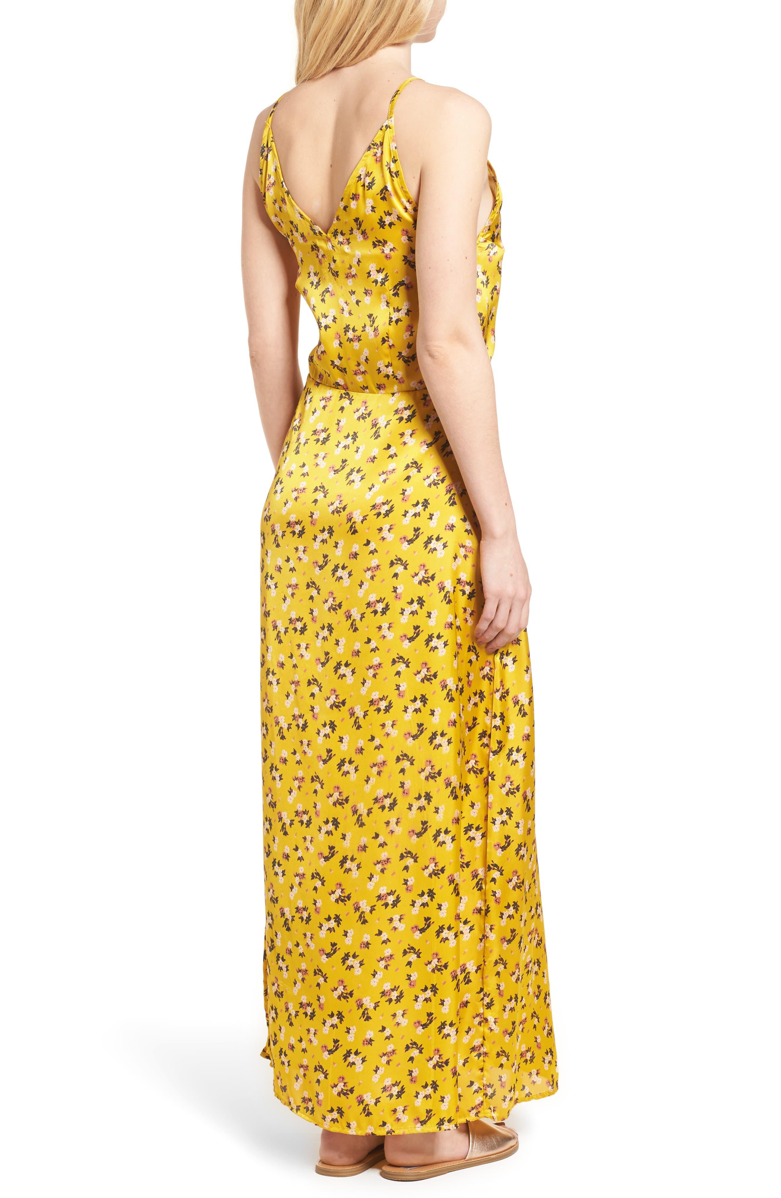 Floral Satin Maxi Dress,                             Alternate thumbnail 2, color,                             Burnt Gold