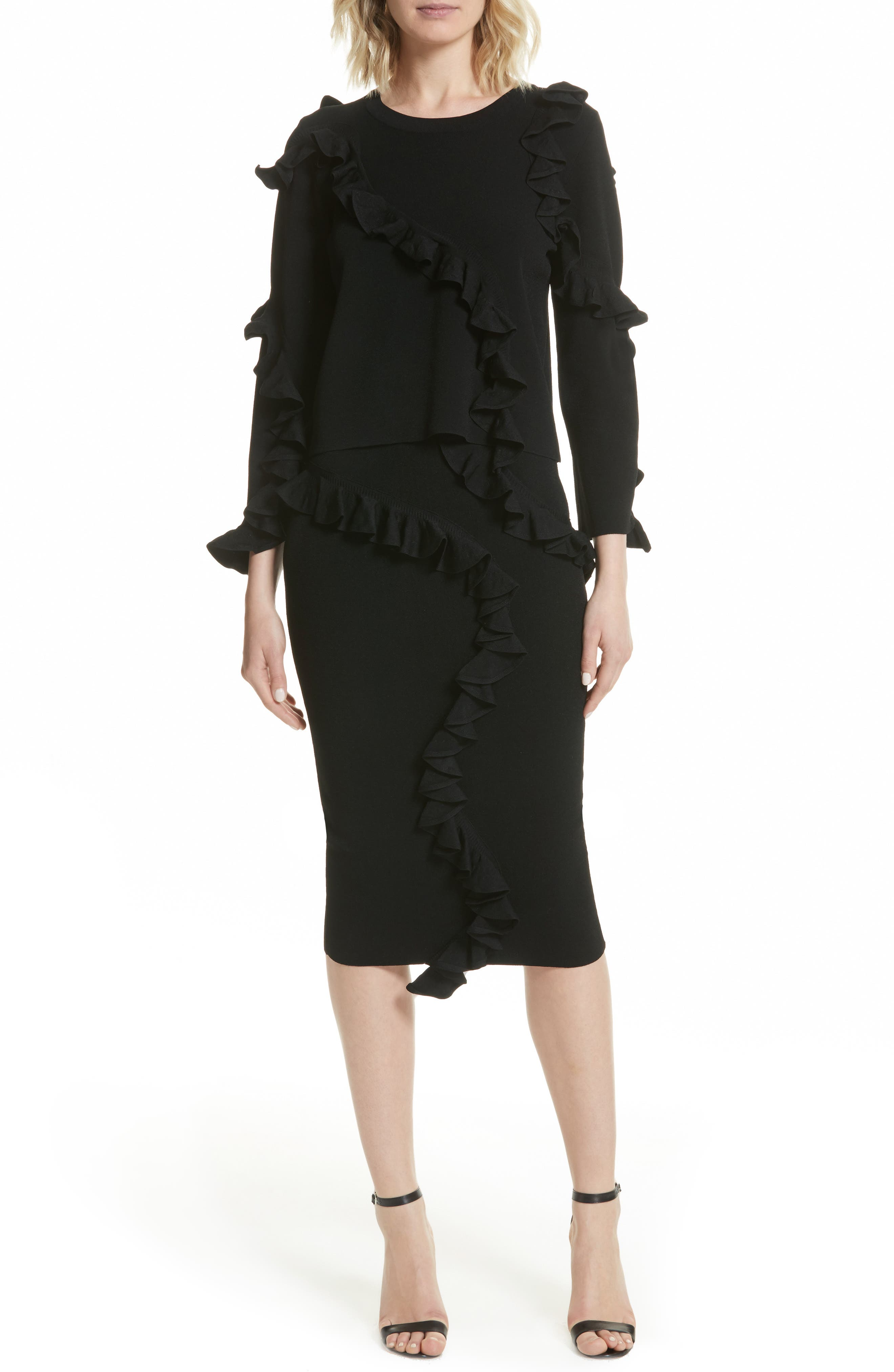 Abstract Ruffle Pullover,                             Alternate thumbnail 7, color,                             Black