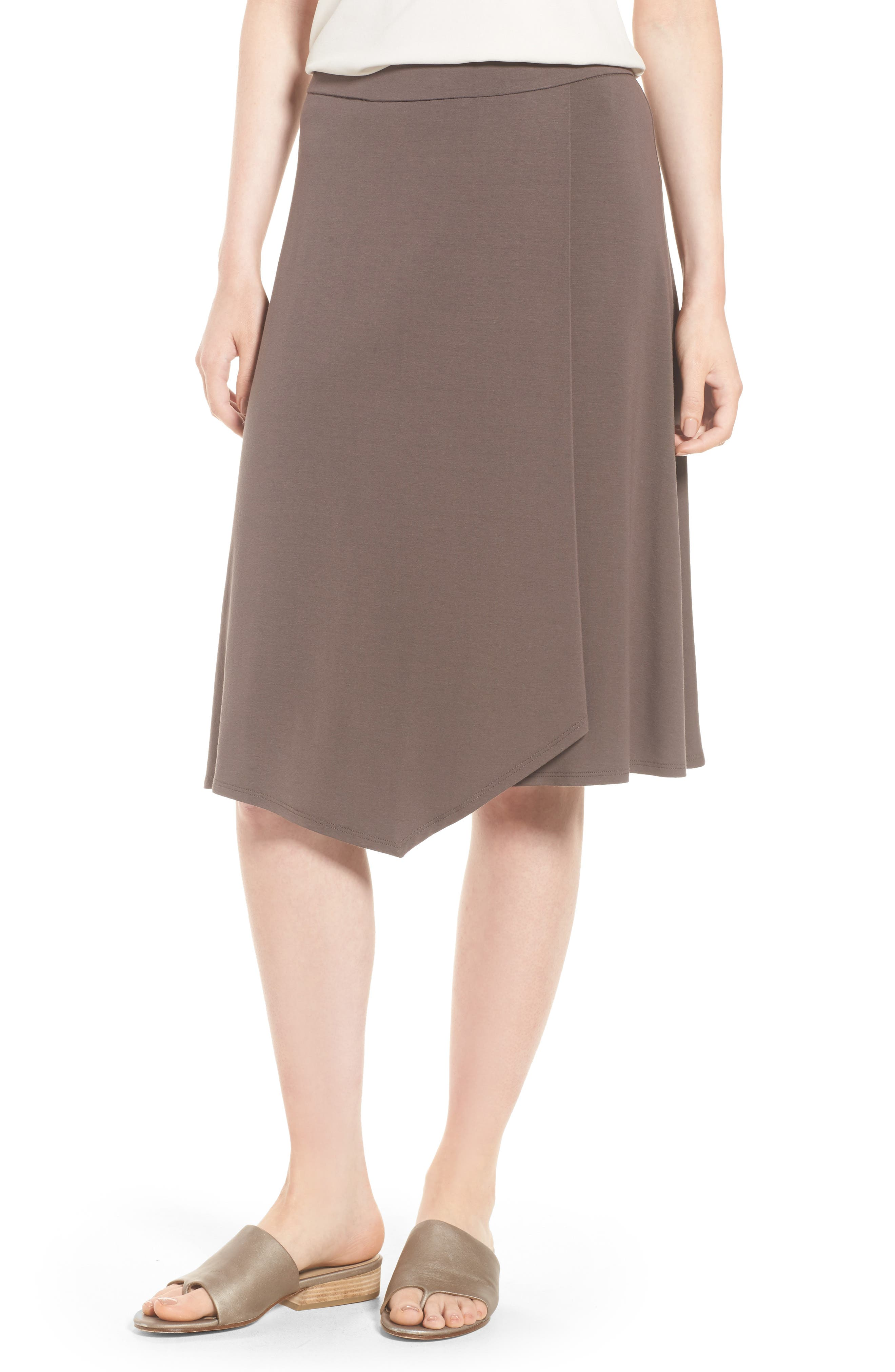 Faux Wrap Jersey Skirt,                         Main,                         color, Rye