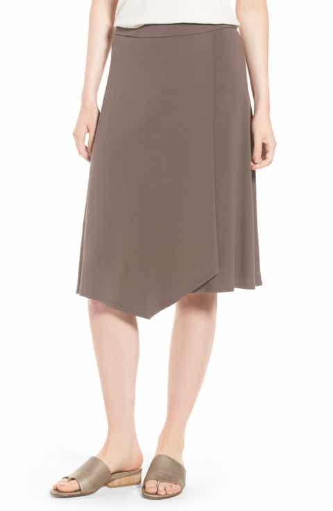 Eileen Fisher Faux Wrap Jersey Skirt (Regular & Petite)