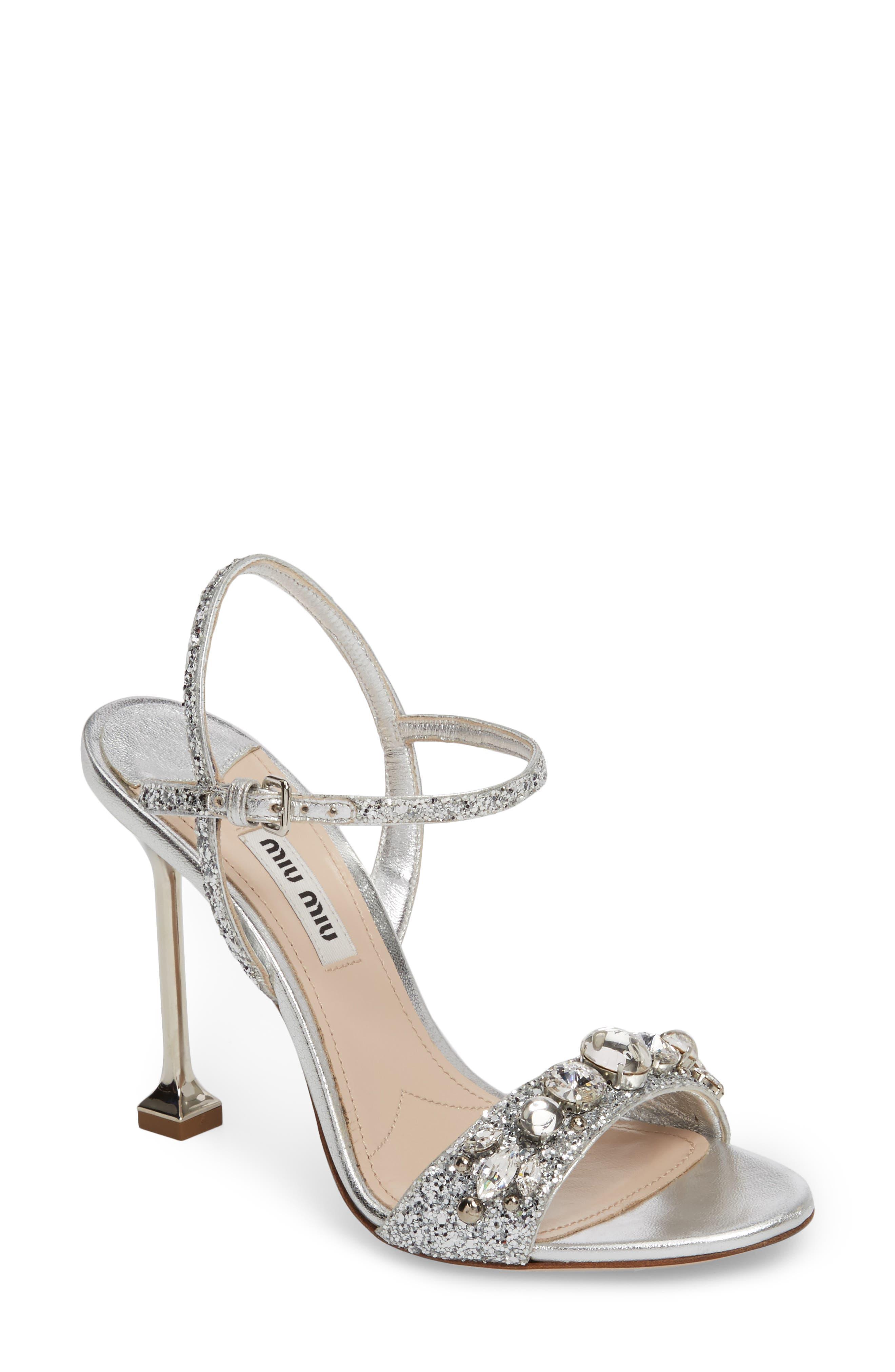 Miu Miu Embellished Ankle Strap Sandal (Women)
