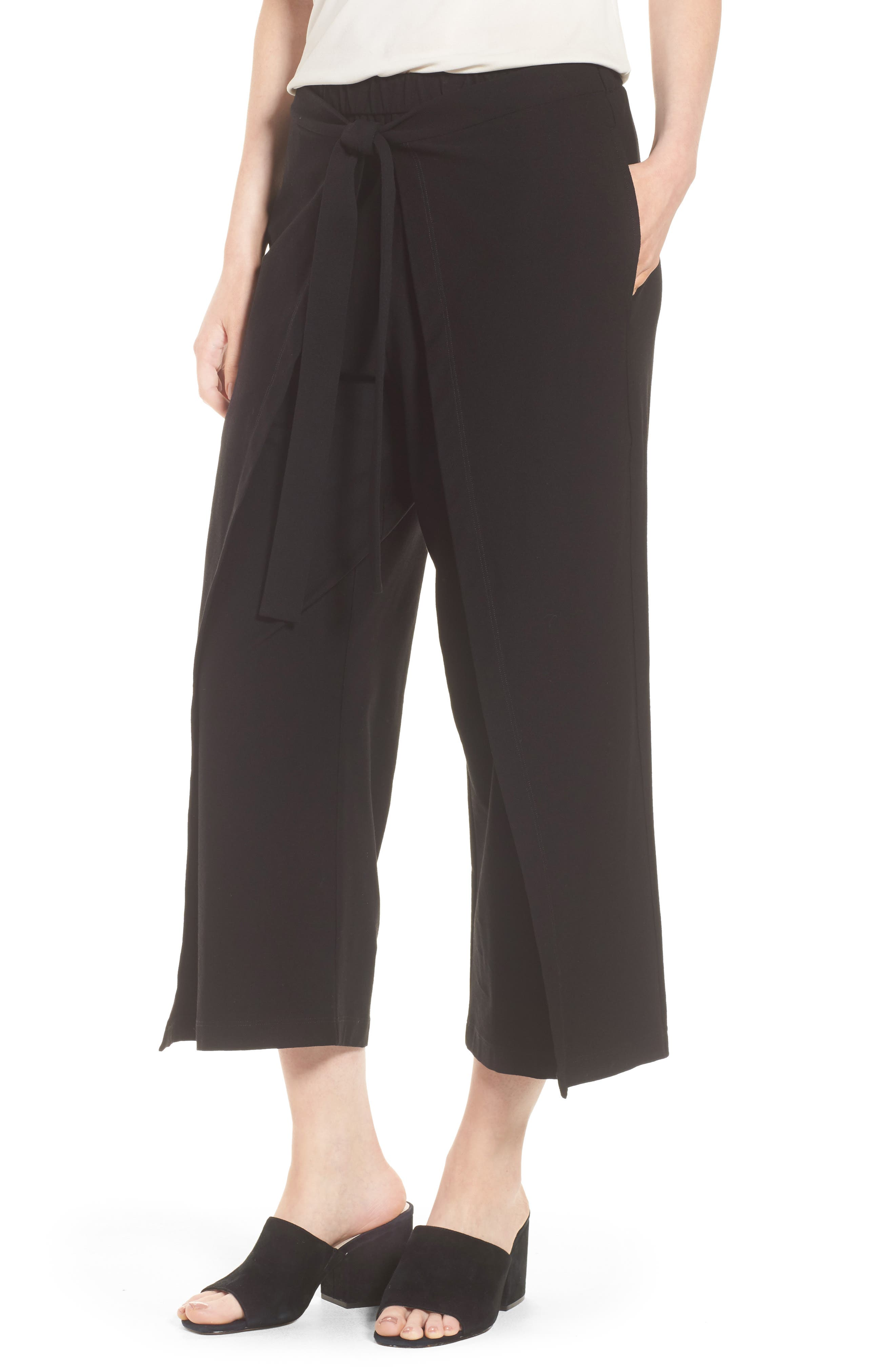 Washable Stretch Crepe Tie-Front Crop Wide Leg Pants,                             Main thumbnail 1, color,                             Black