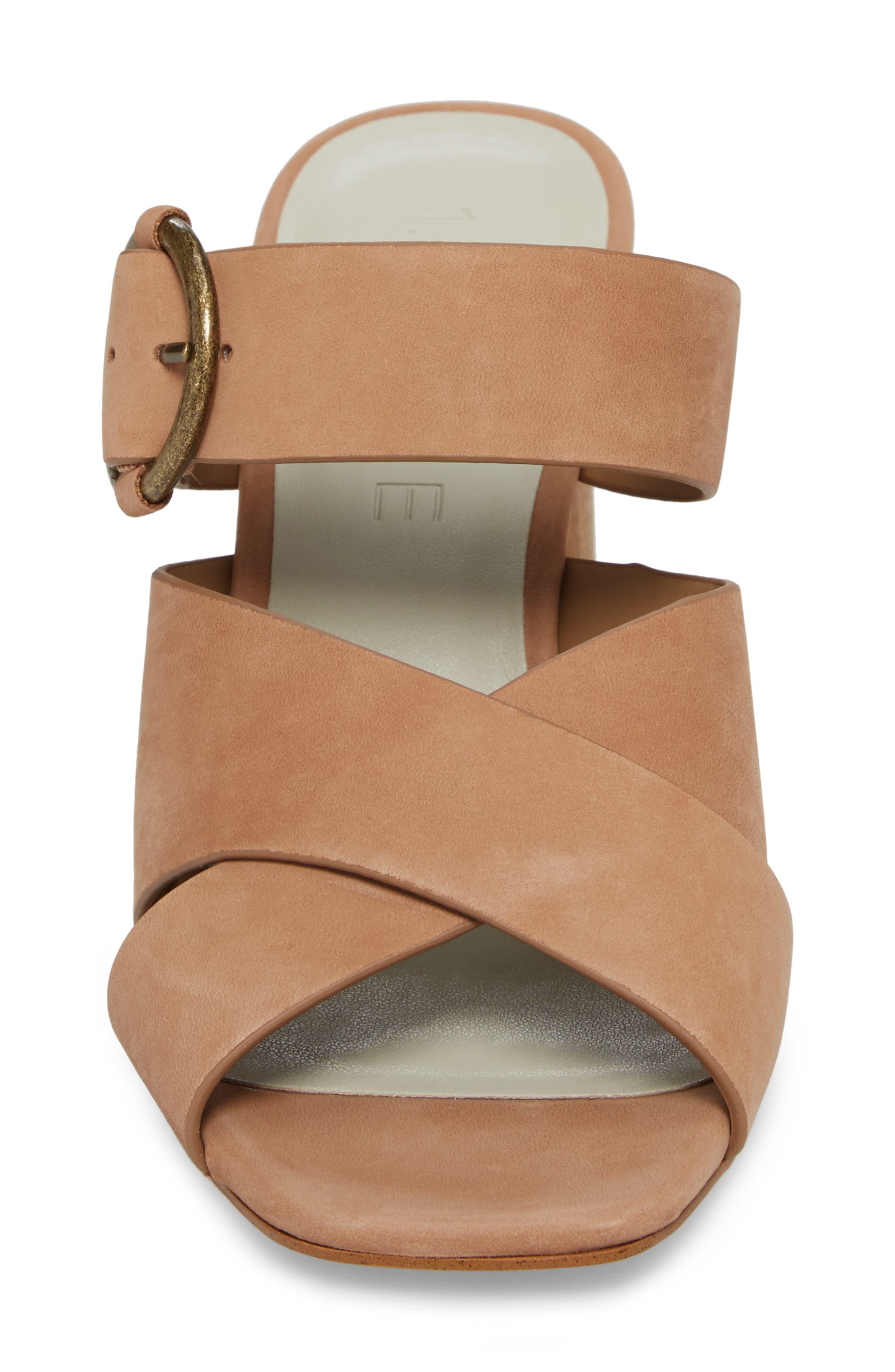 Icendra Flared Heel Mule Sandal,                             Alternate thumbnail 4, color,                             Teak Leather