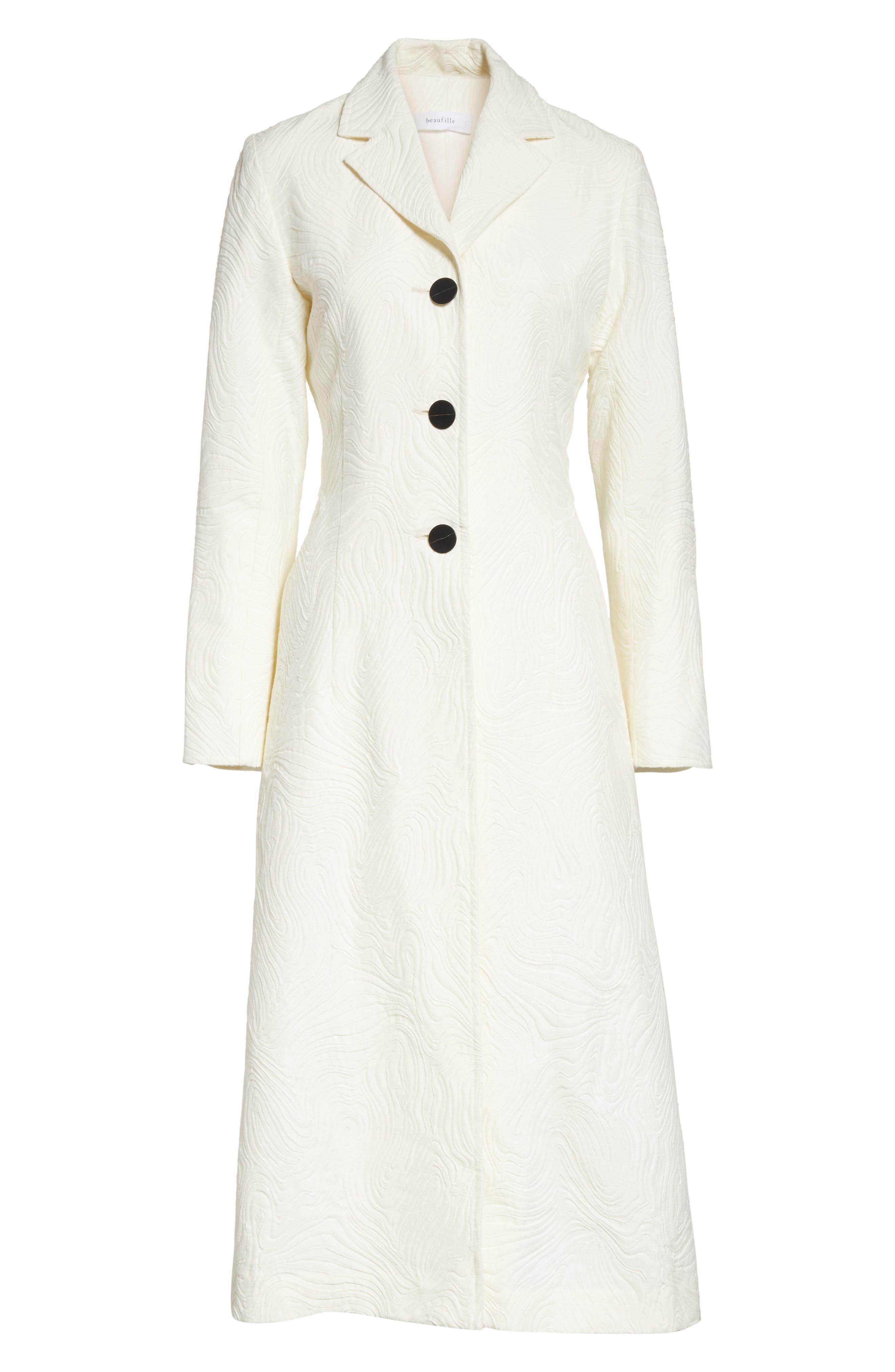 Rhodes Swirl Jacquard Trench Coat,                             Alternate thumbnail 7, color,                             Off White