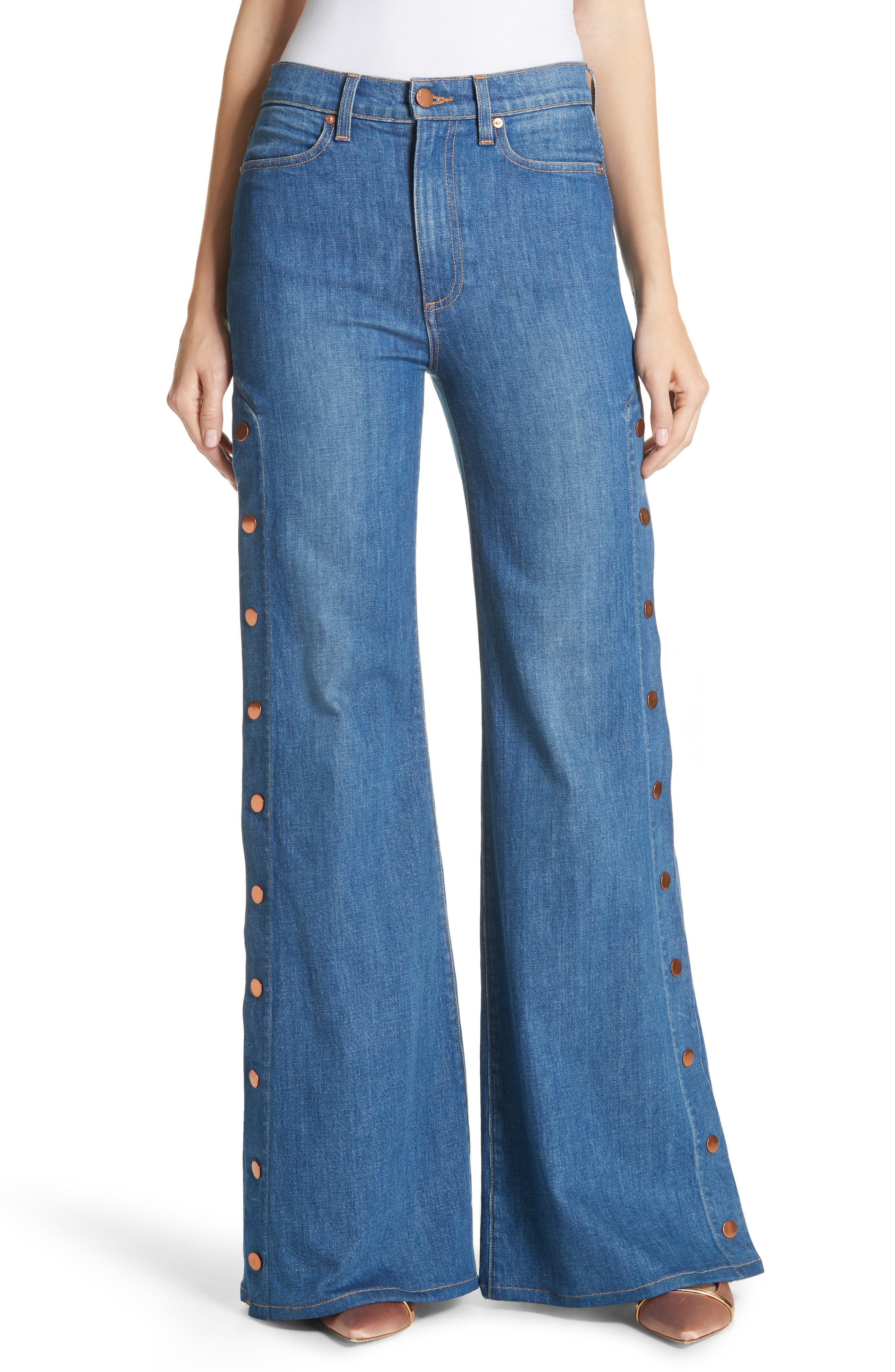AO.LA Gorgeous Snap Side Flare Leg Jeans,                             Main thumbnail 1, color,                             French Blue
