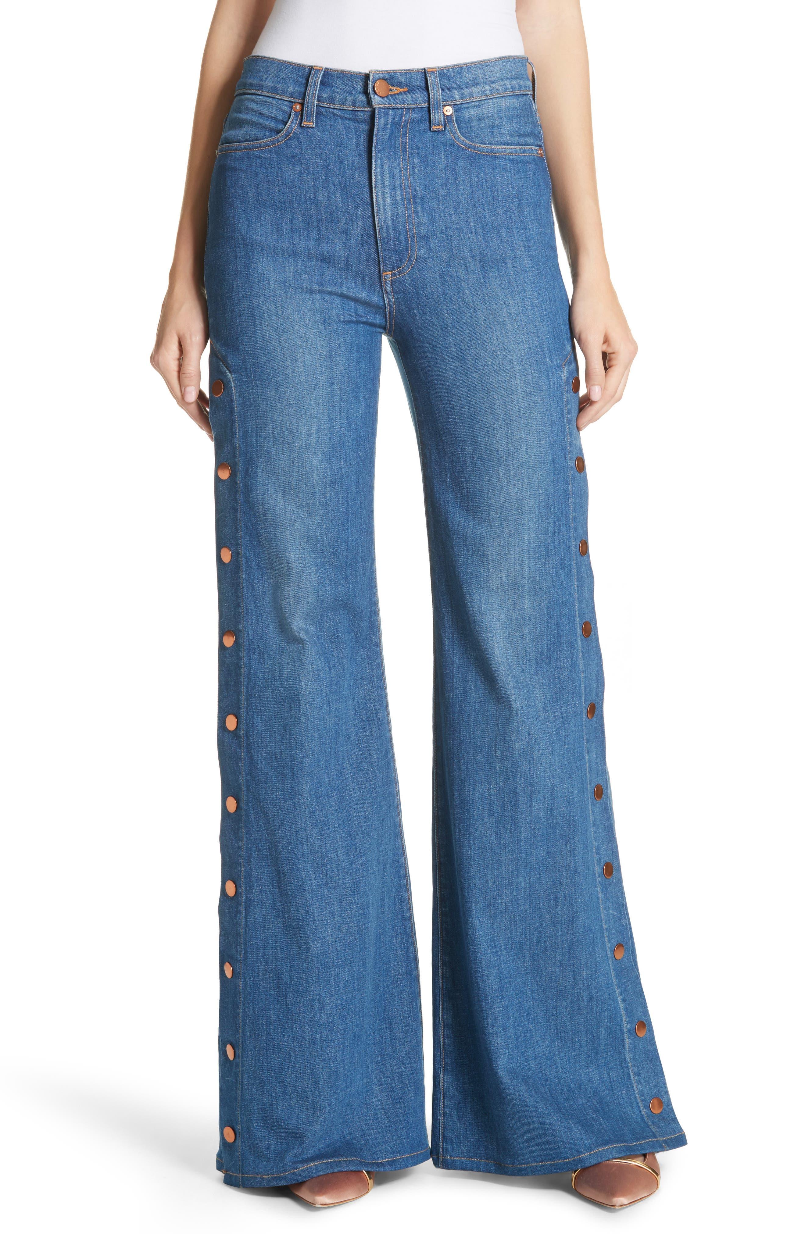 AO.LA Gorgeous Snap Side Flare Leg Jeans,                         Main,                         color, French Blue