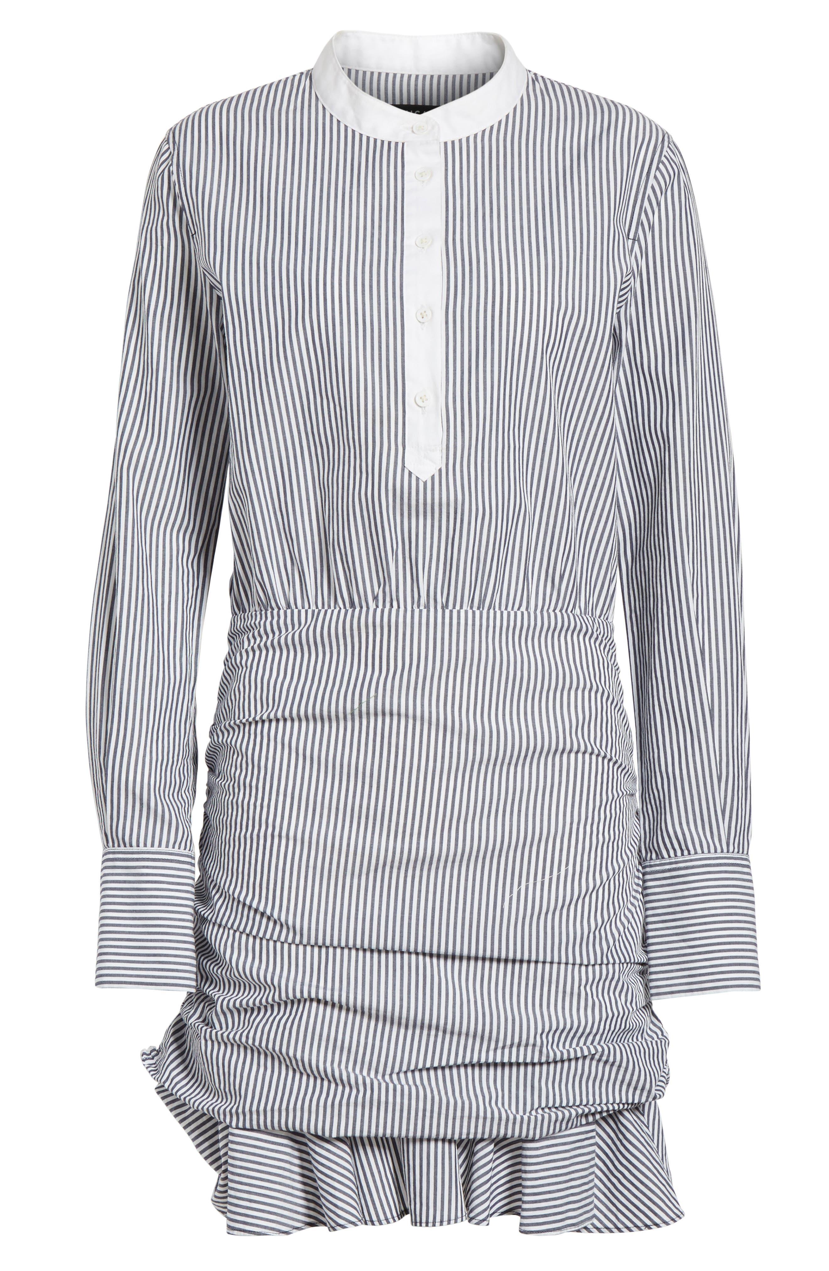 Everett Stripe Shirtdress,                             Alternate thumbnail 6, color,                             Black/ White Stripe