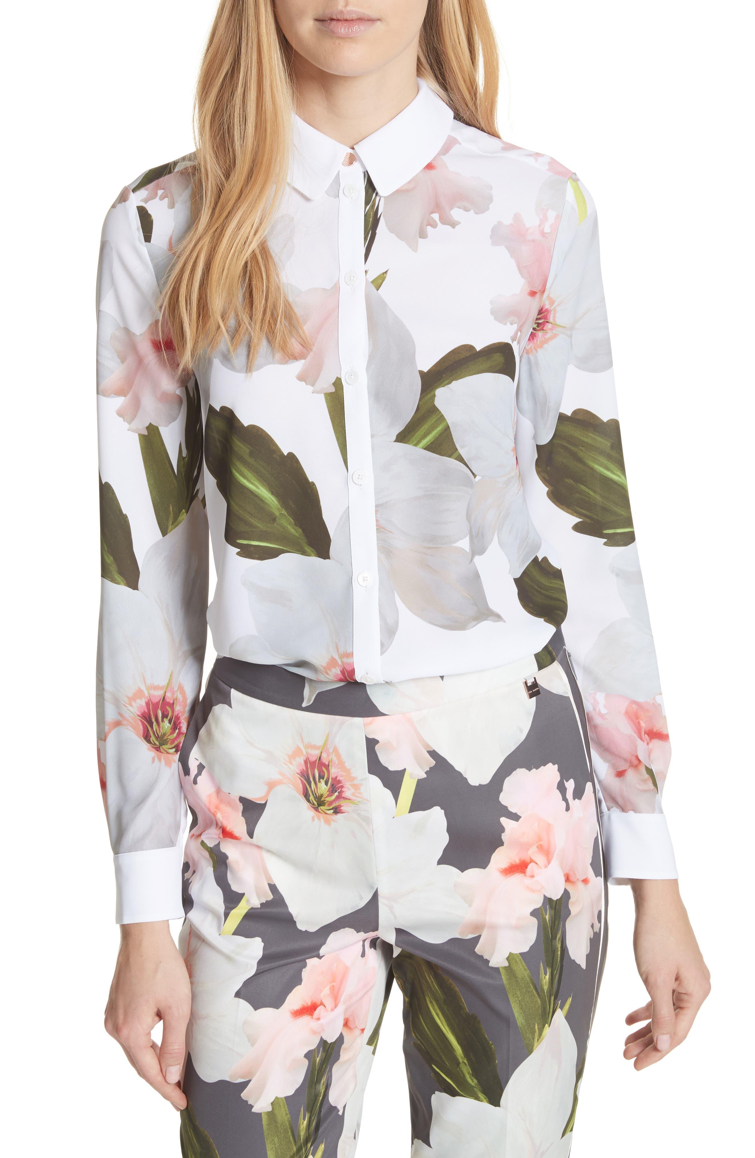Chatsworth Bloom Shirt,                             Main thumbnail 1, color,                             White