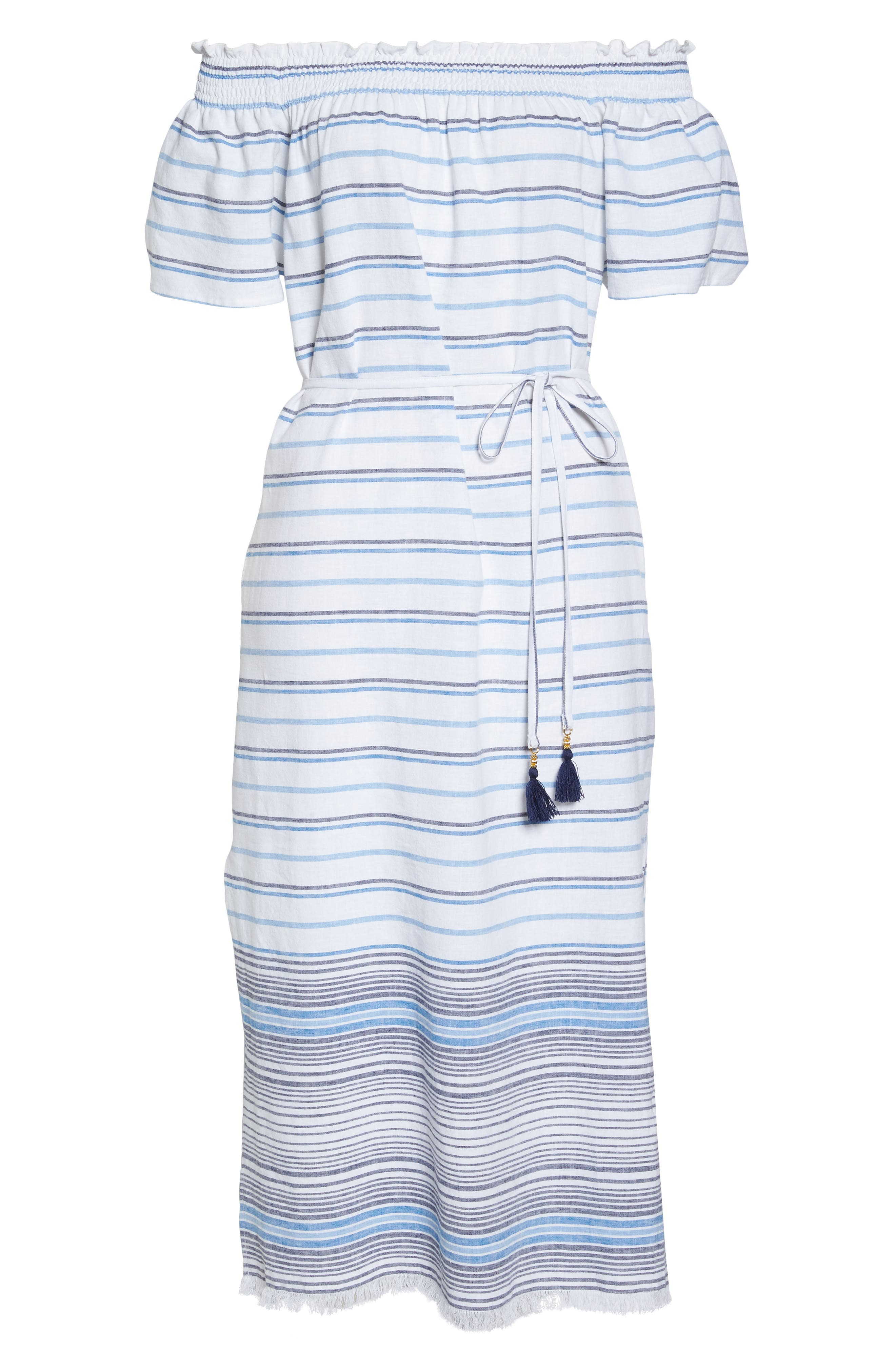Stripe Linen & Cotton Off the Shoulder Cover-Up Dress,                             Alternate thumbnail 6, color,                             White