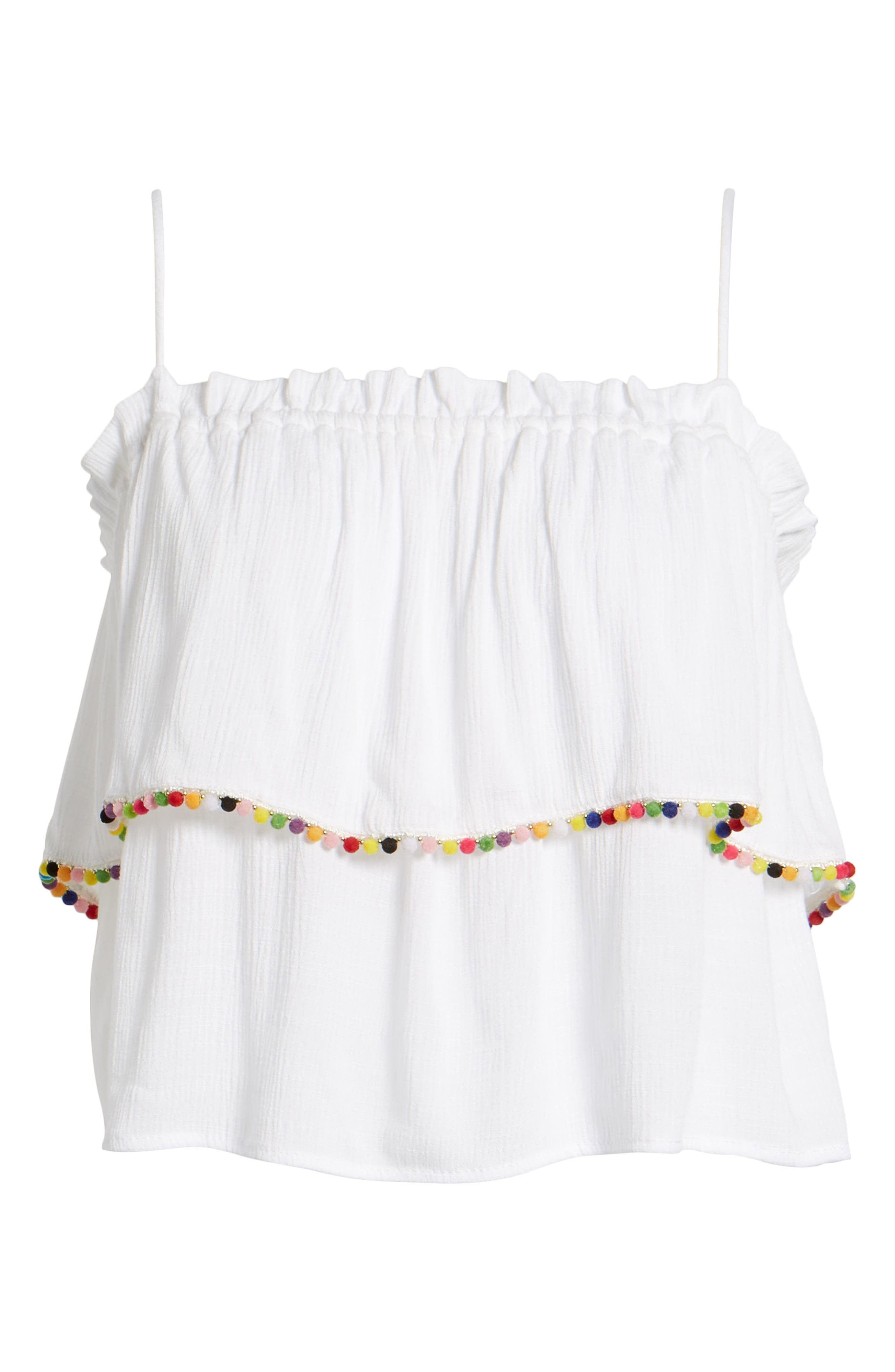 Pompom Trim Ruffle Top,                             Alternate thumbnail 7, color,                             White