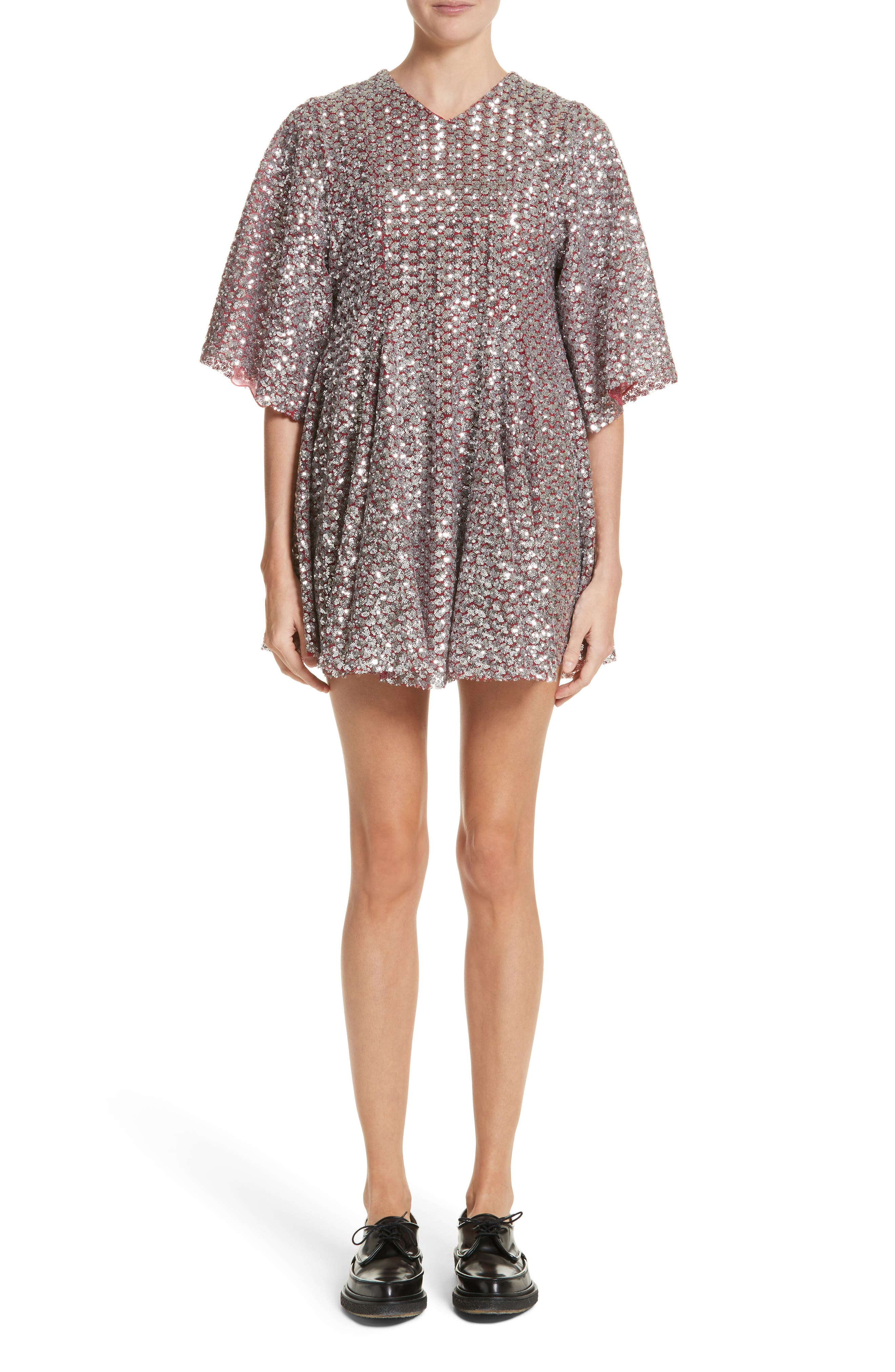 Simmi Sequin Dress,                         Main,                         color, Red/ Silver