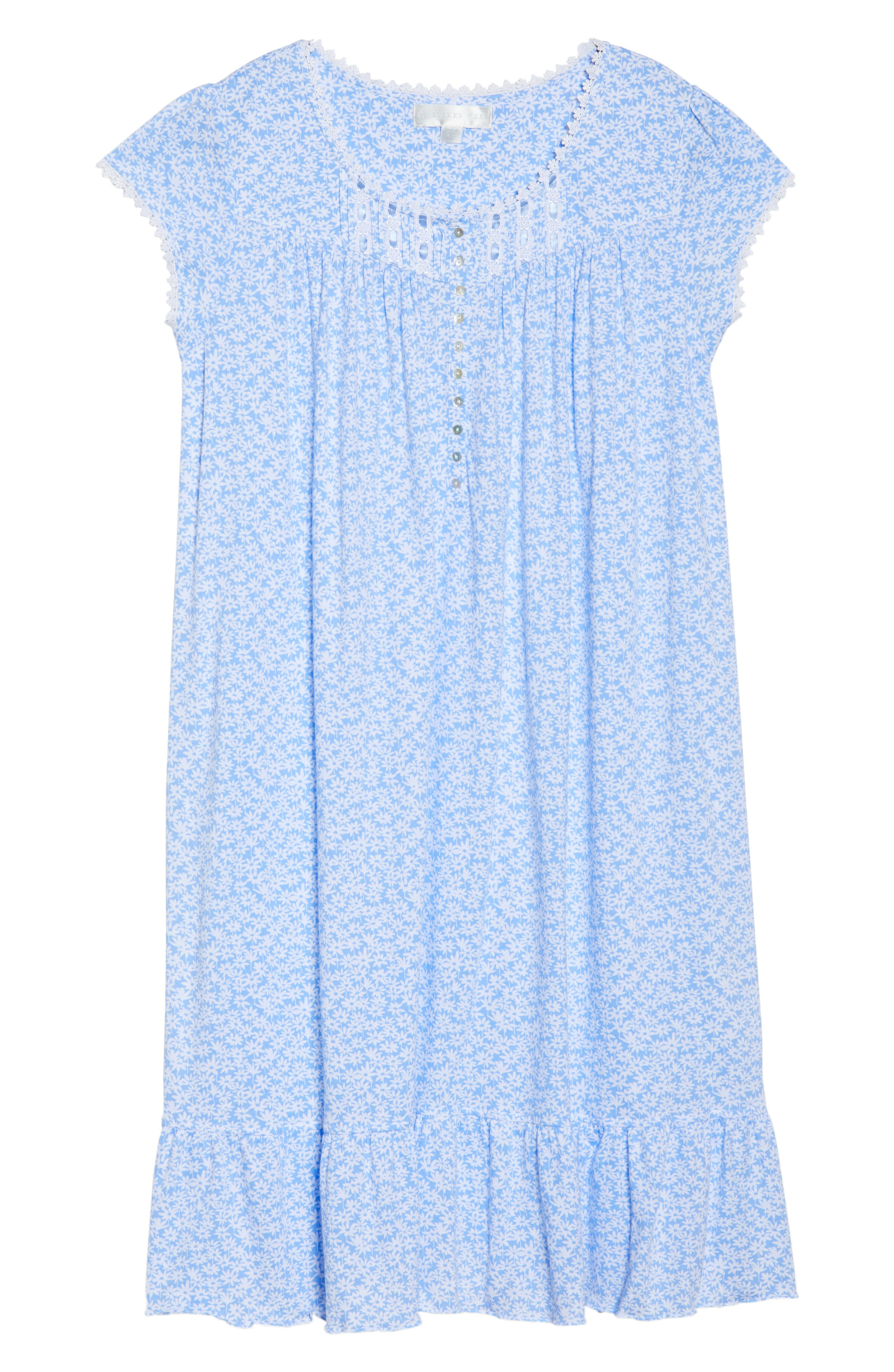 Cotton Jersey Waltz Nightgown,                             Alternate thumbnail 4, color,                             Blue White Daisies