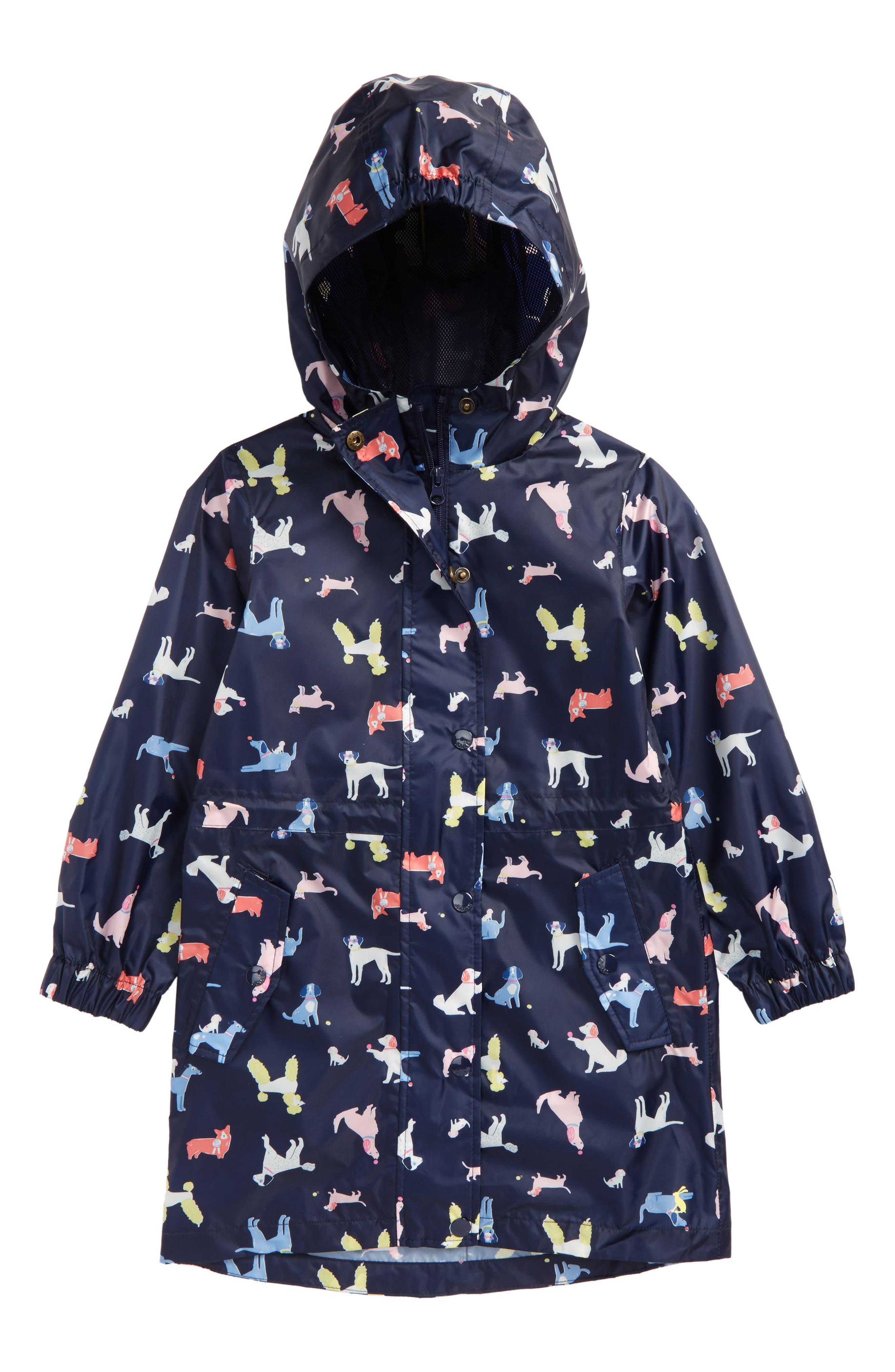 Print Packaway Raincoat,                             Main thumbnail 1, color,                             French Navy Dotty Dog