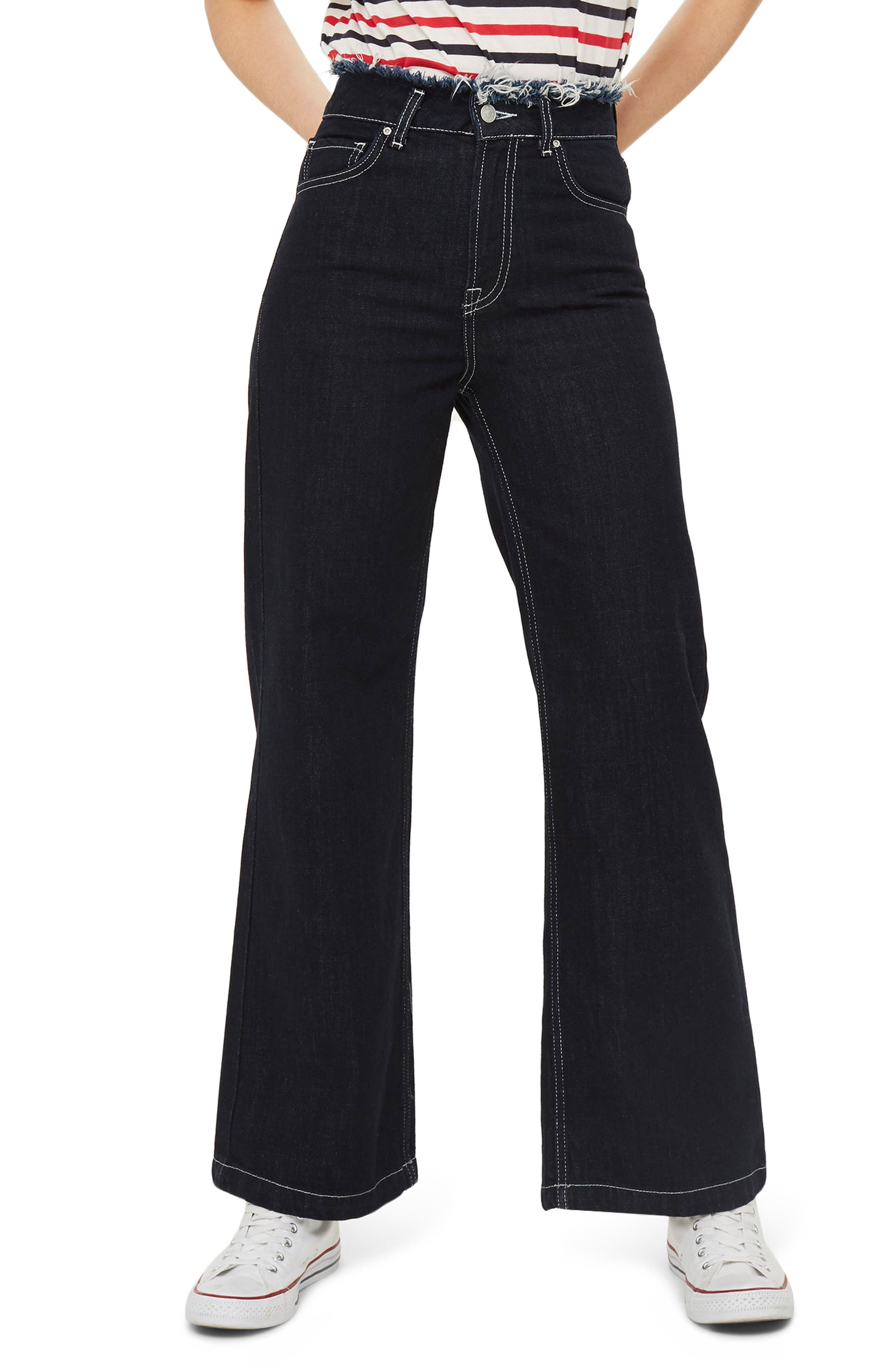 Frayed Waist Wide Leg Jeans,                             Main thumbnail 1, color,                             Indigo