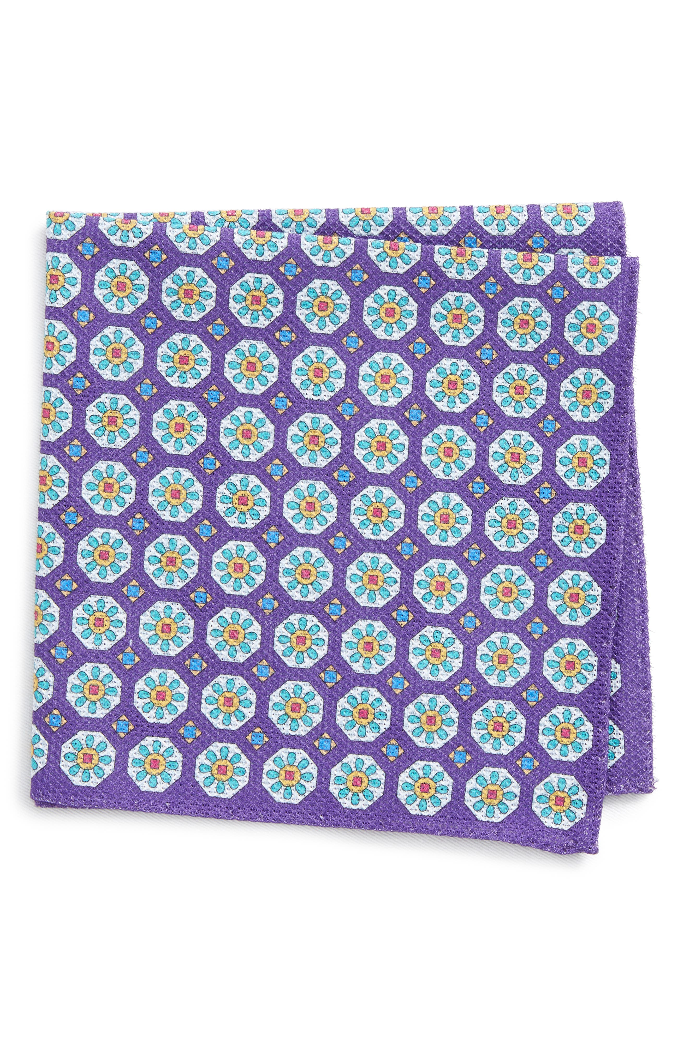 Medallion Cotton Pocket Square,                         Main,                         color, Purple