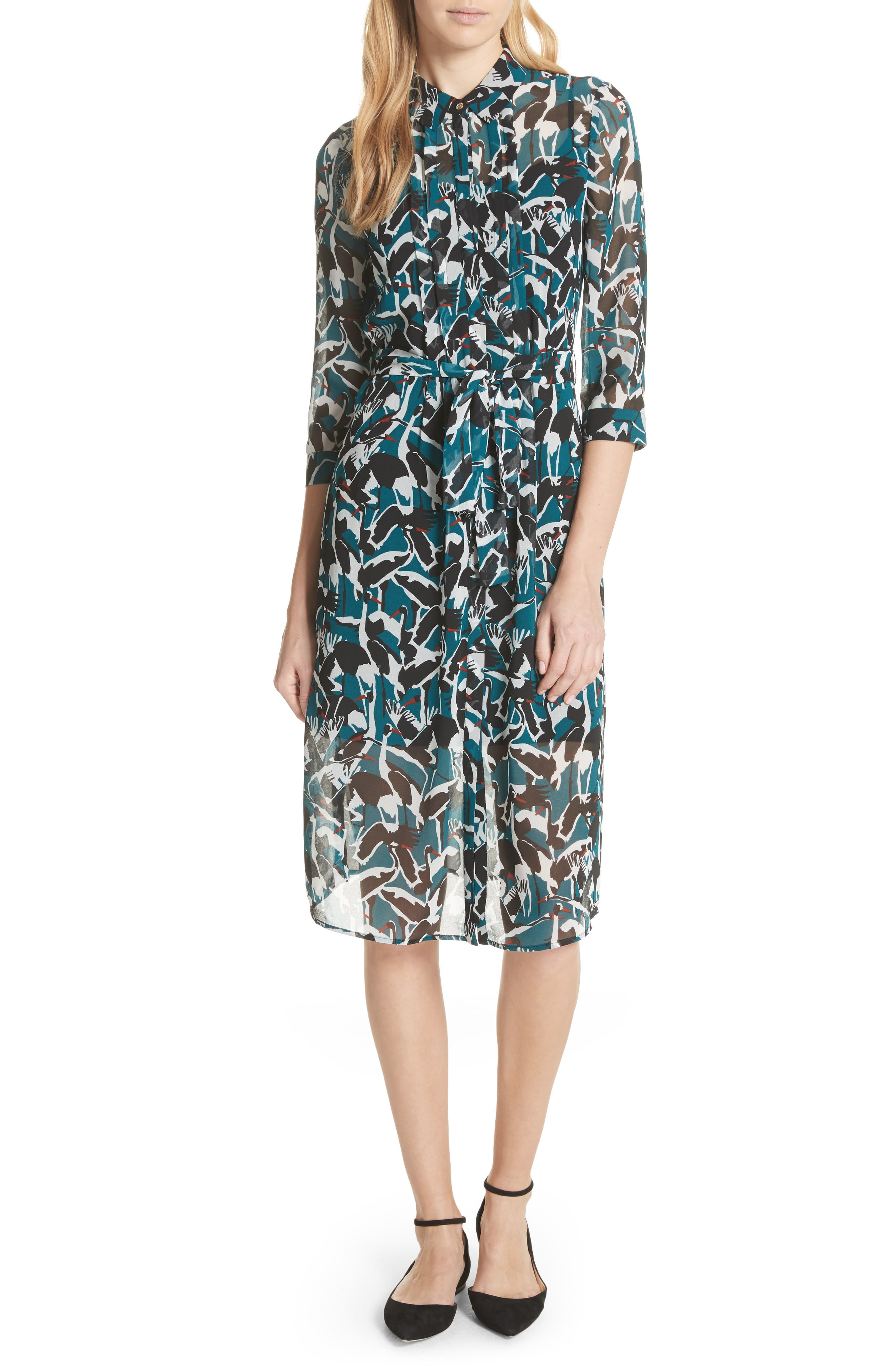 Colour by Numbers Crane Shirtdress,                         Main,                         color, Teal