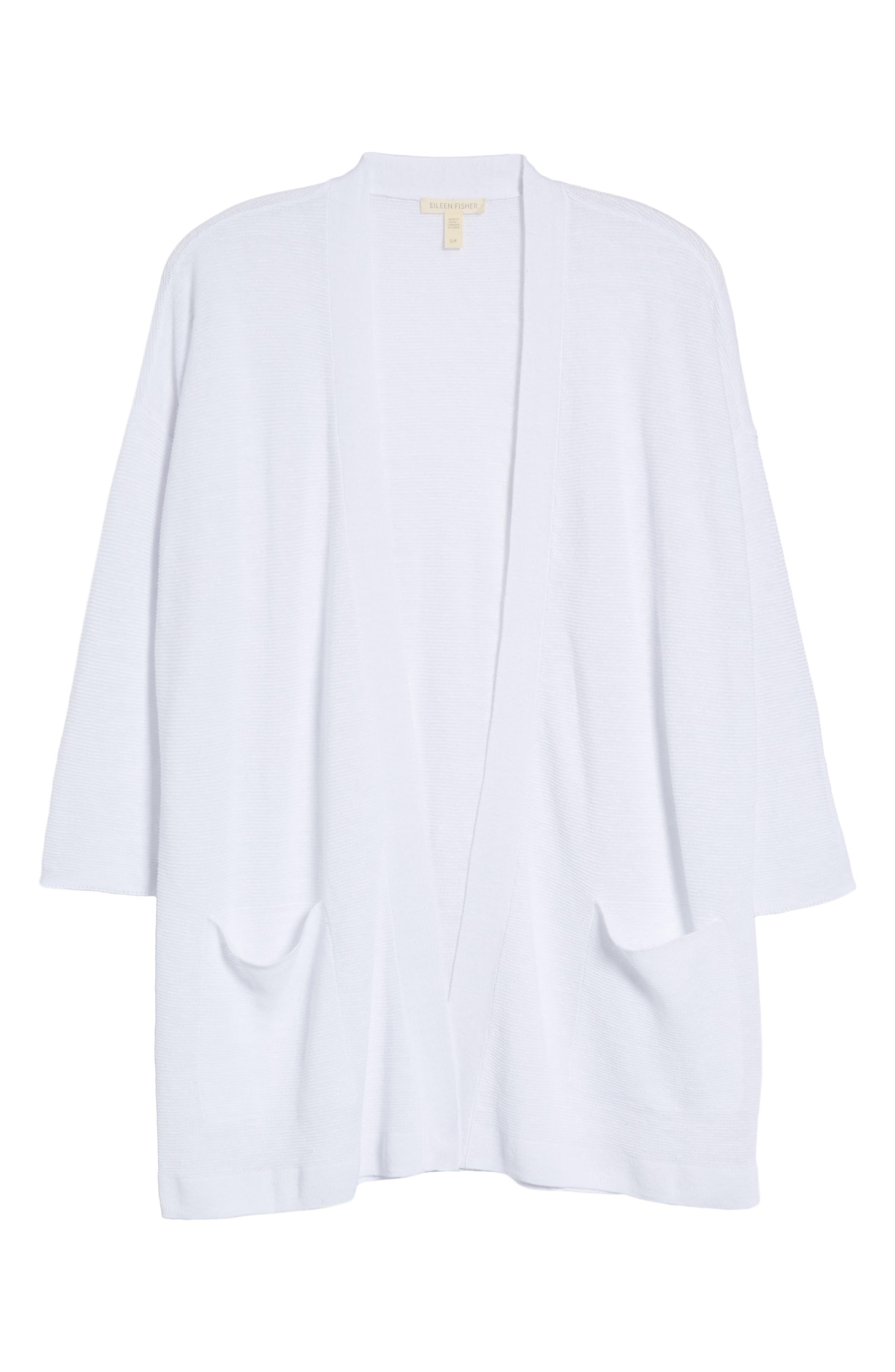 Boxy Organic Linen Cardigan,                             Alternate thumbnail 6, color,                             White