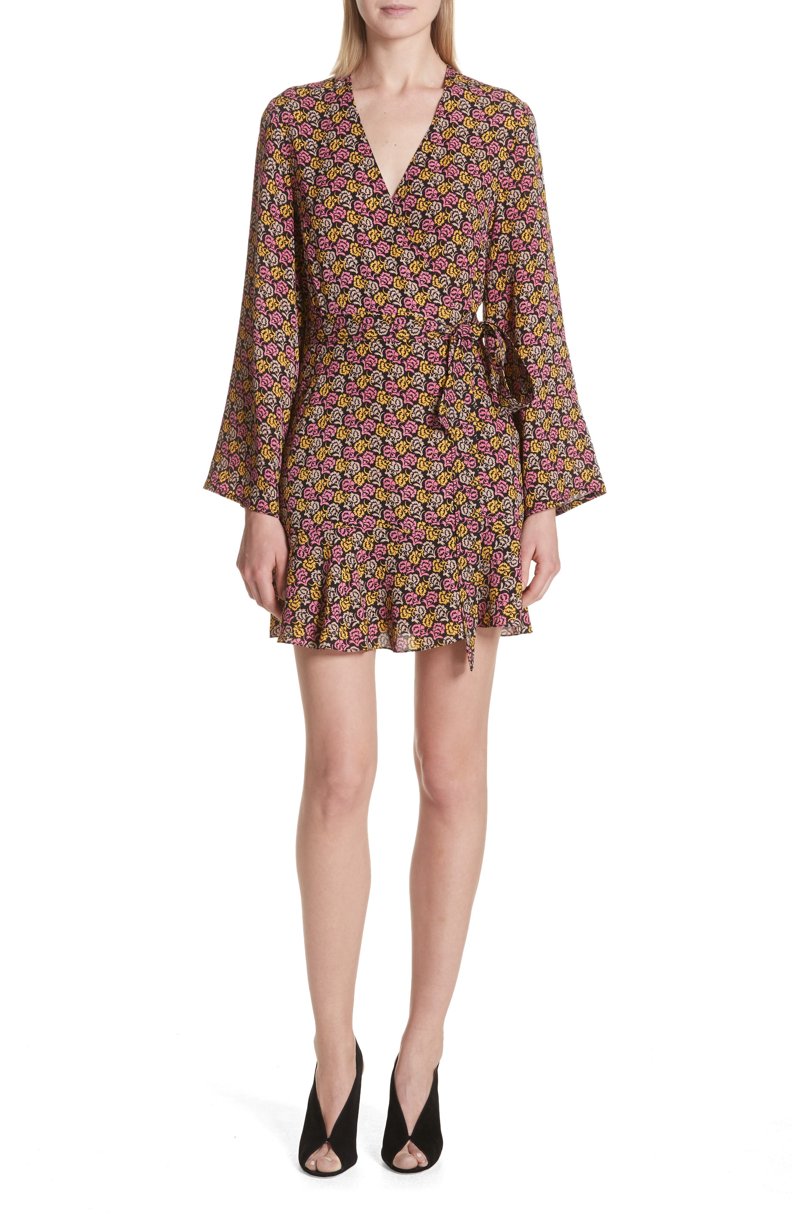 Whitney Bell Sleeve Silk Wrap Dress,                         Main,                         color, Pink Multi