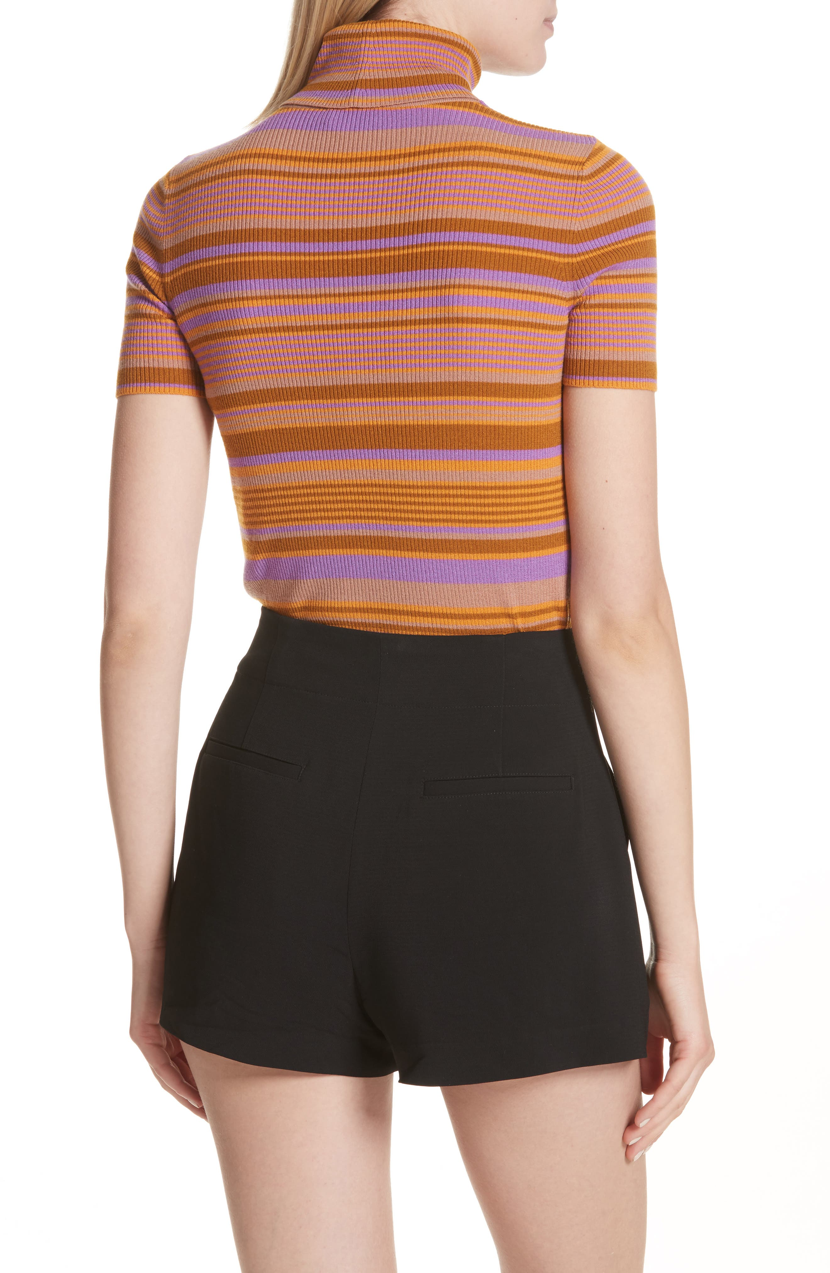 Alternate Image 2  - A.L.C. Doninico Stripe Turtleneck Stretch Wool Sweater