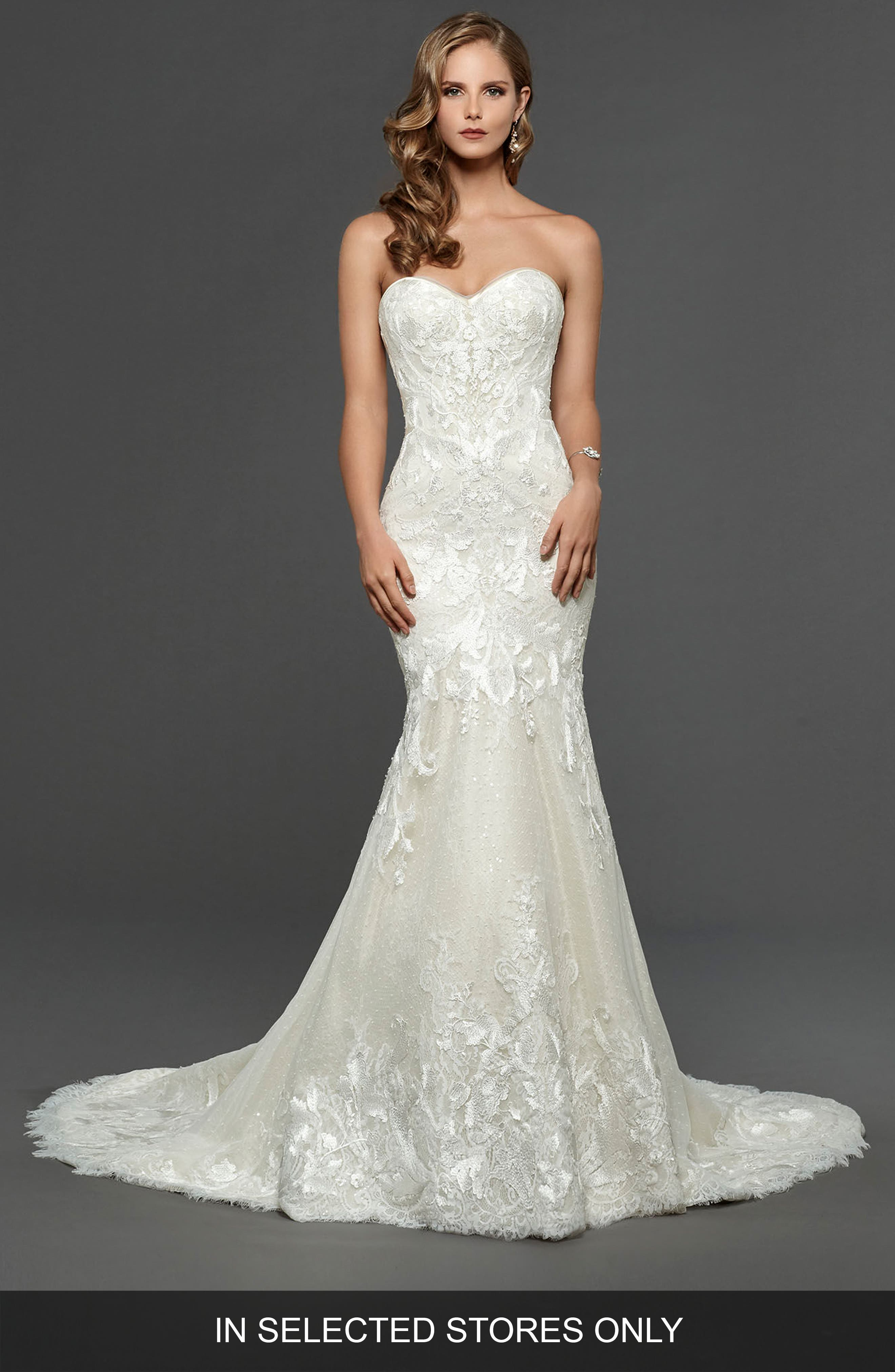 Claire Strapless Sweetheart Trumpet Gown,                         Main,                         color, Off White