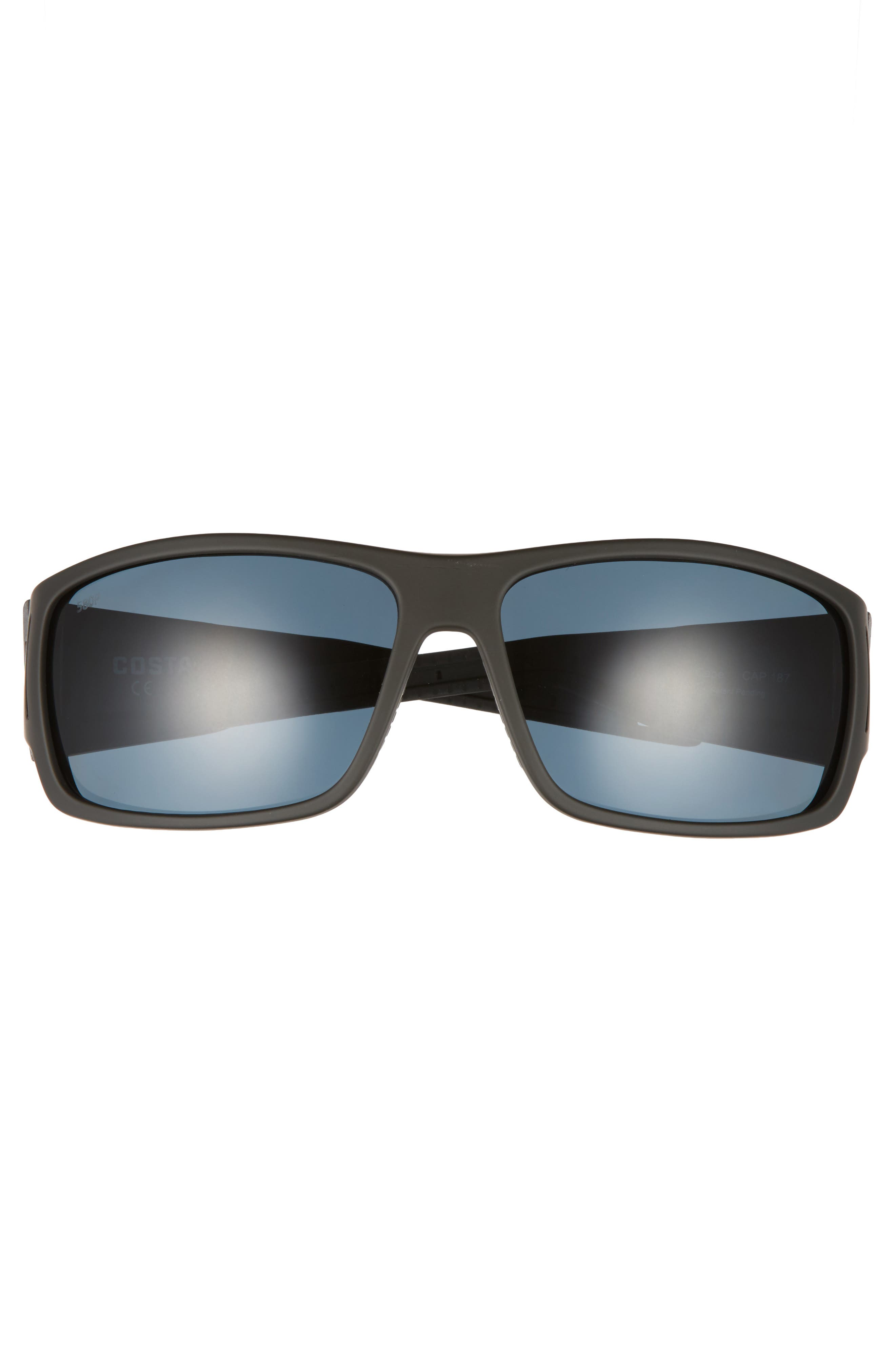 Cape 66mm Polarized Sunglasses,                             Alternate thumbnail 2, color,                             Matte Black/ Gray