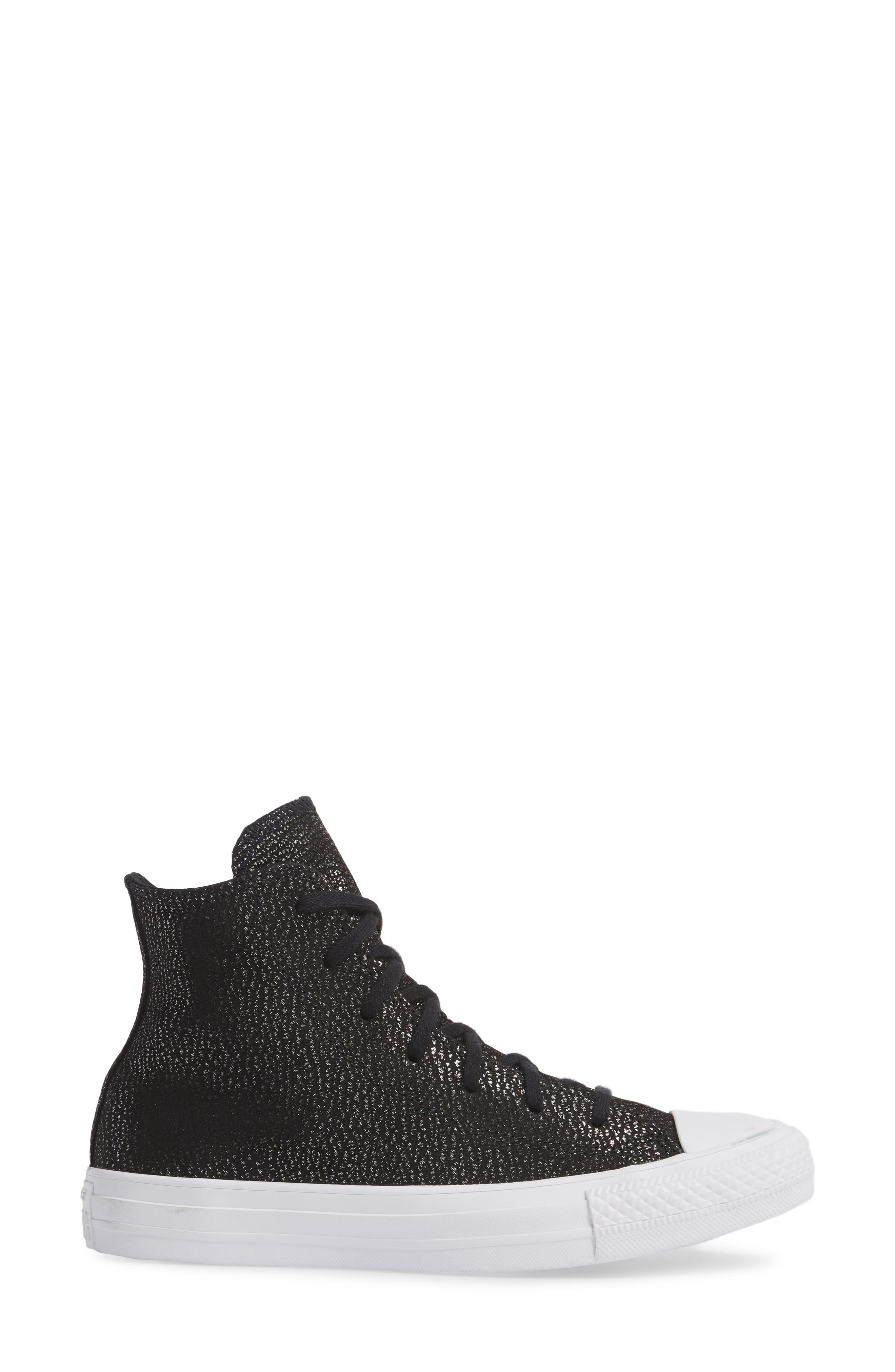 Chuck Taylor<sup>®</sup> All Star<sup>®</sup> Tipped Metallic High Top Sneaker,                             Alternate thumbnail 3, color,                             Black