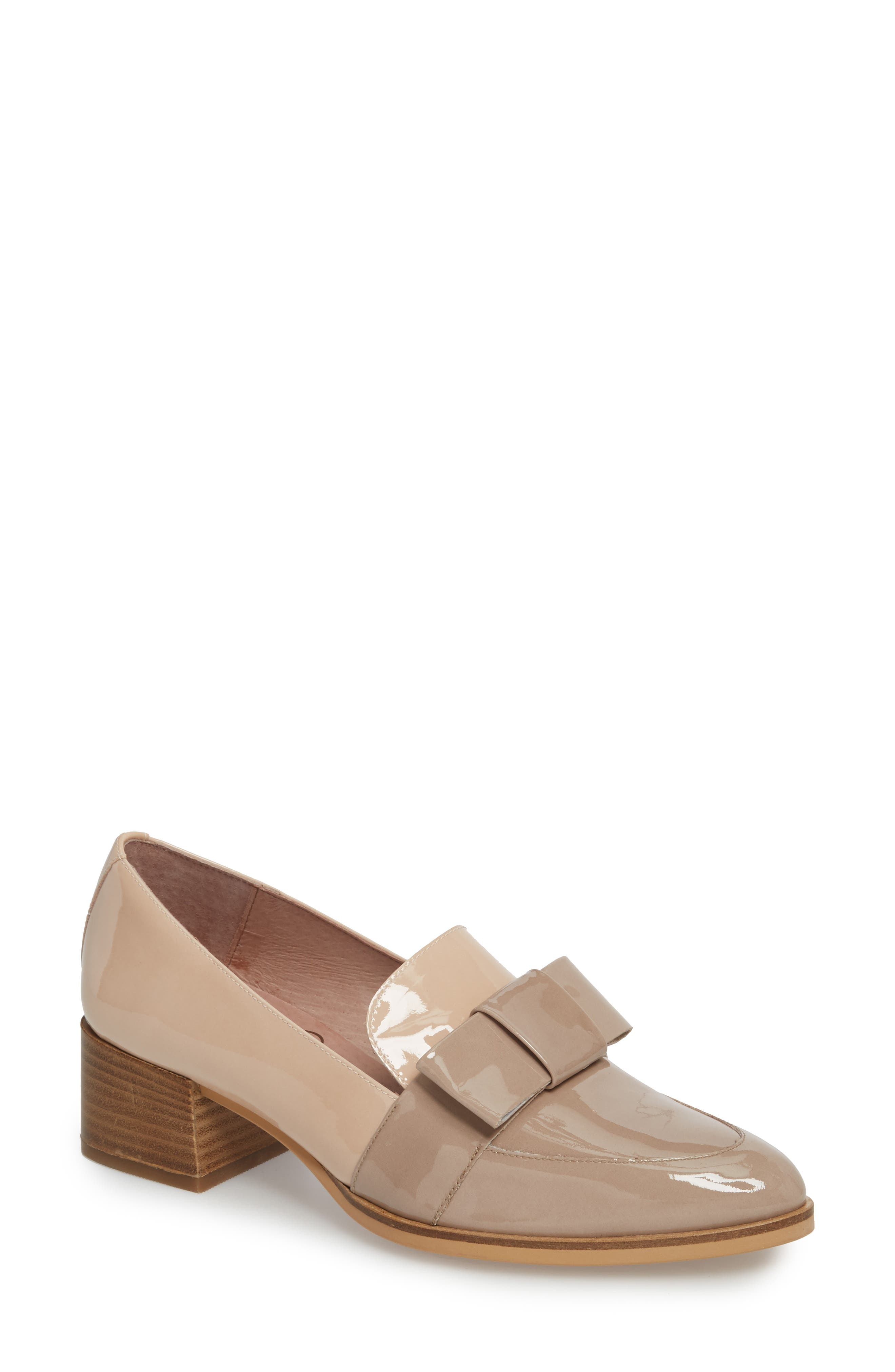 WONDERS Block Heel Loafer Pump in Taupe/ Palo Patent Leather