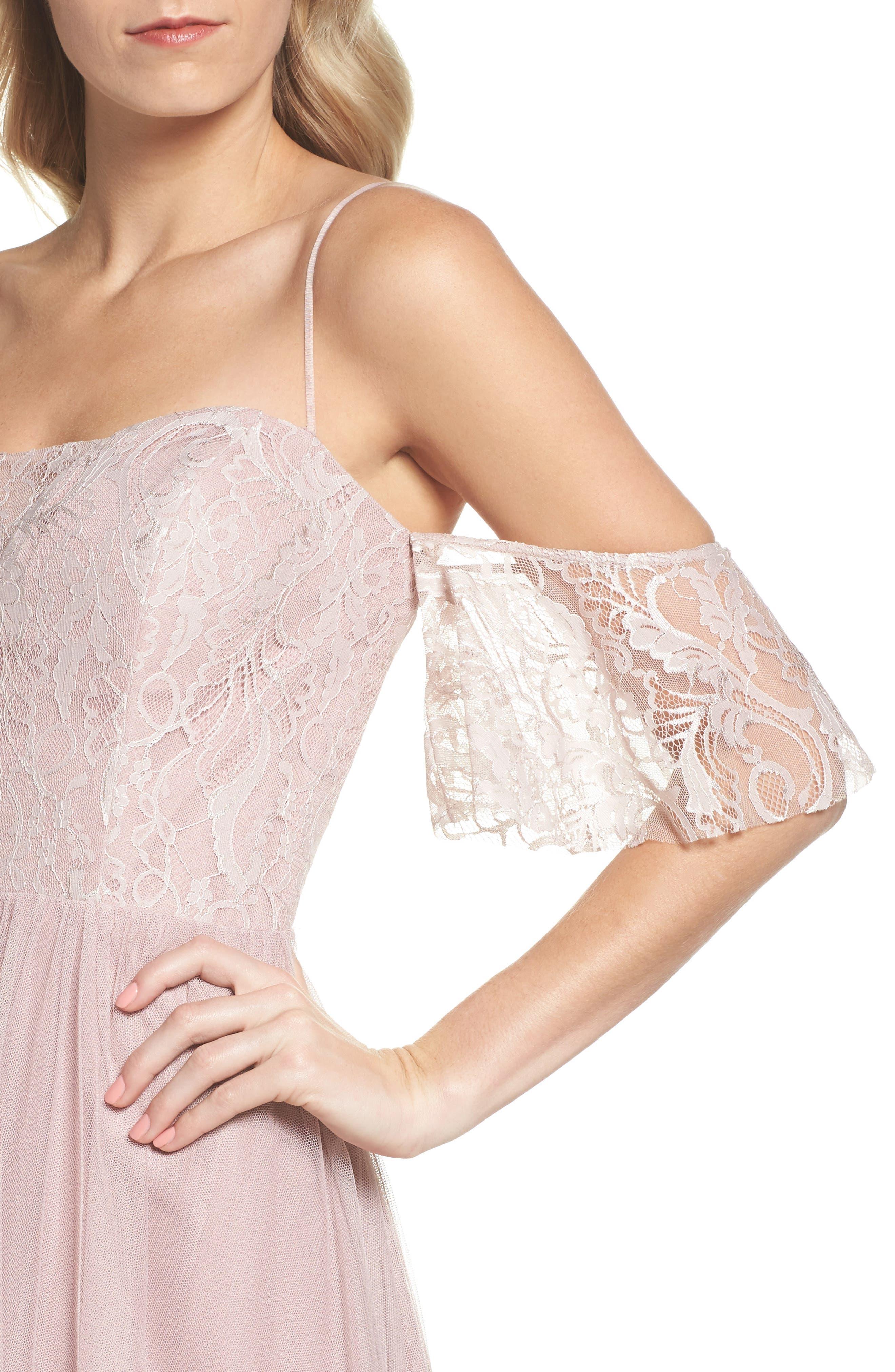 Cold Shoulder Lace Gown,                             Alternate thumbnail 4, color,                             Dusty Rose