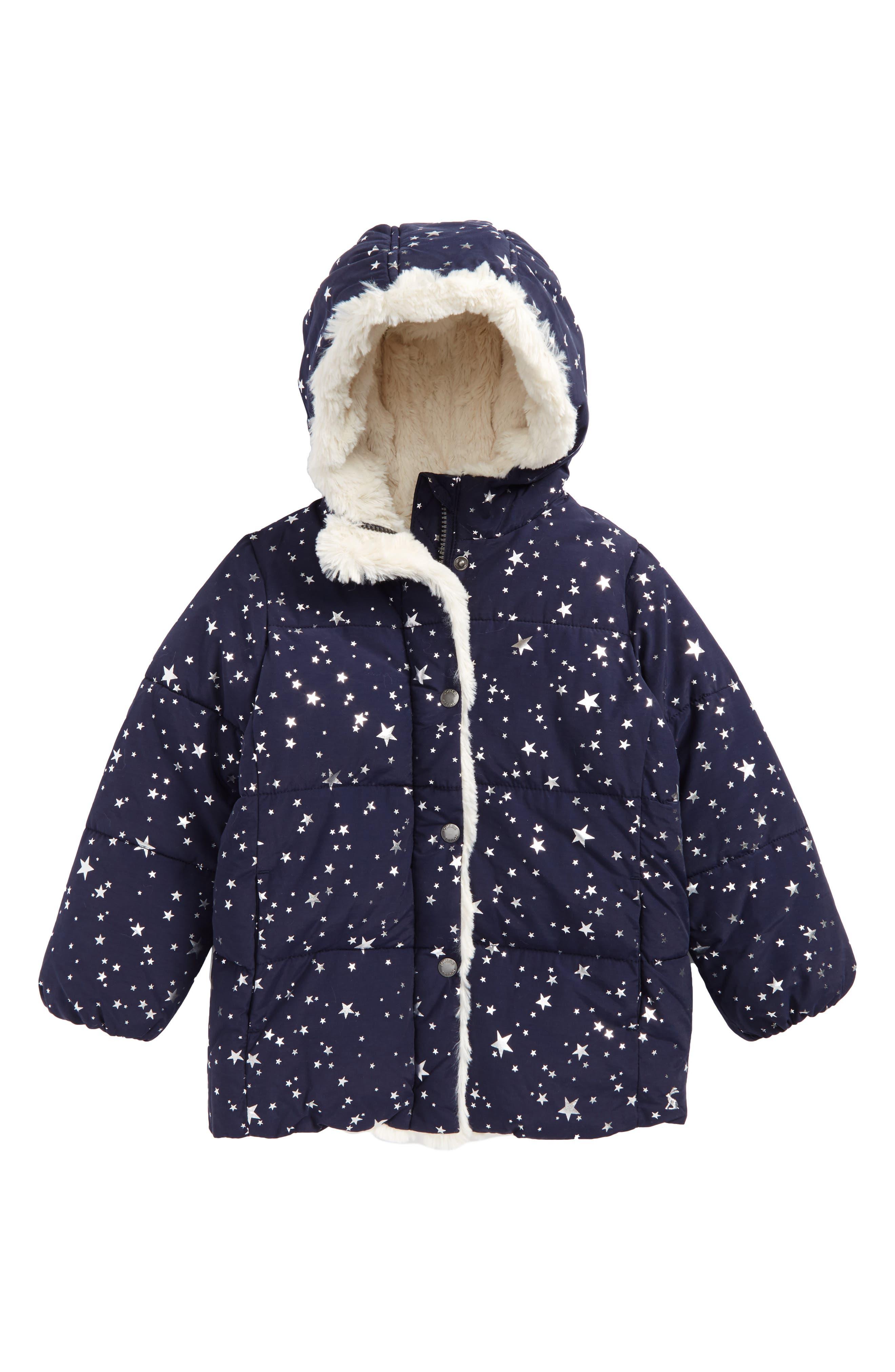 Main Image - Joules Faux Fur Trim Hooded Puffer Jacket (Toddler Girls & Little Girls)
