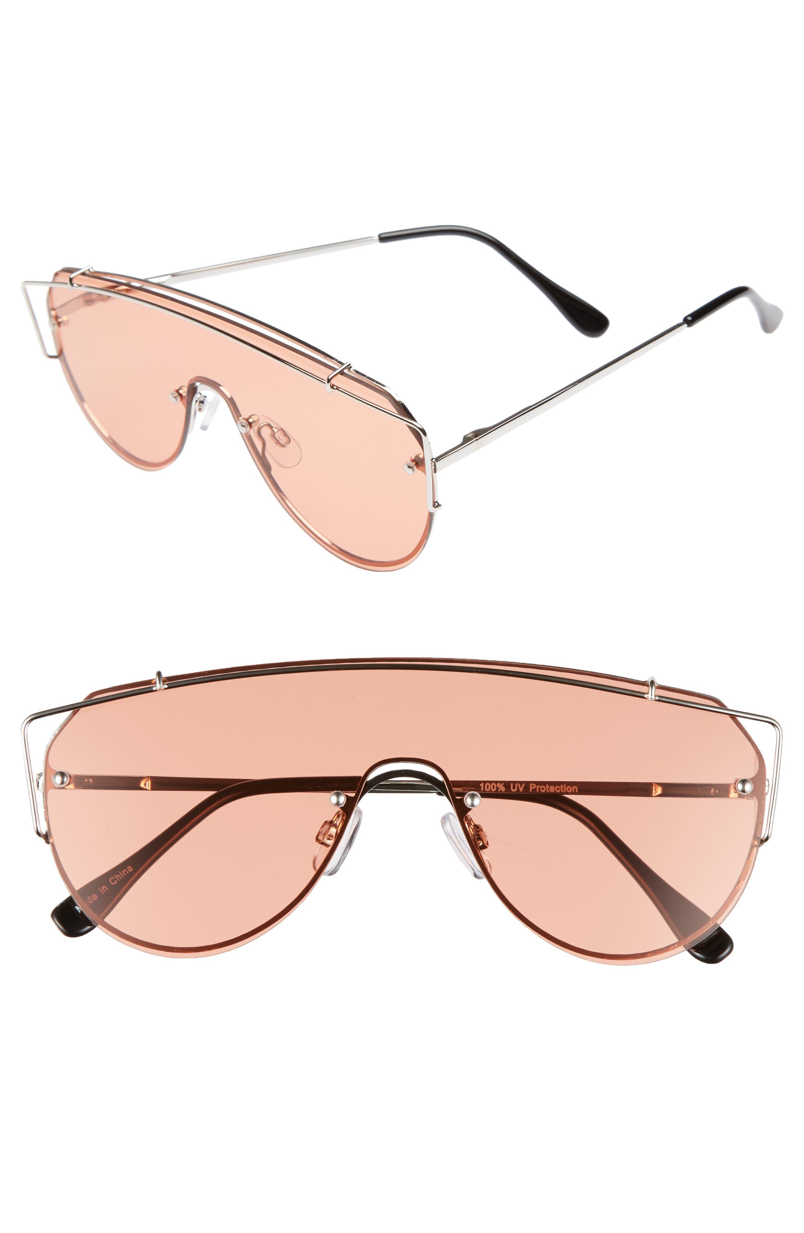 Futuristic 130mm Shield Sunglasses,                             Main thumbnail 1, color,                             Gold/ Pink