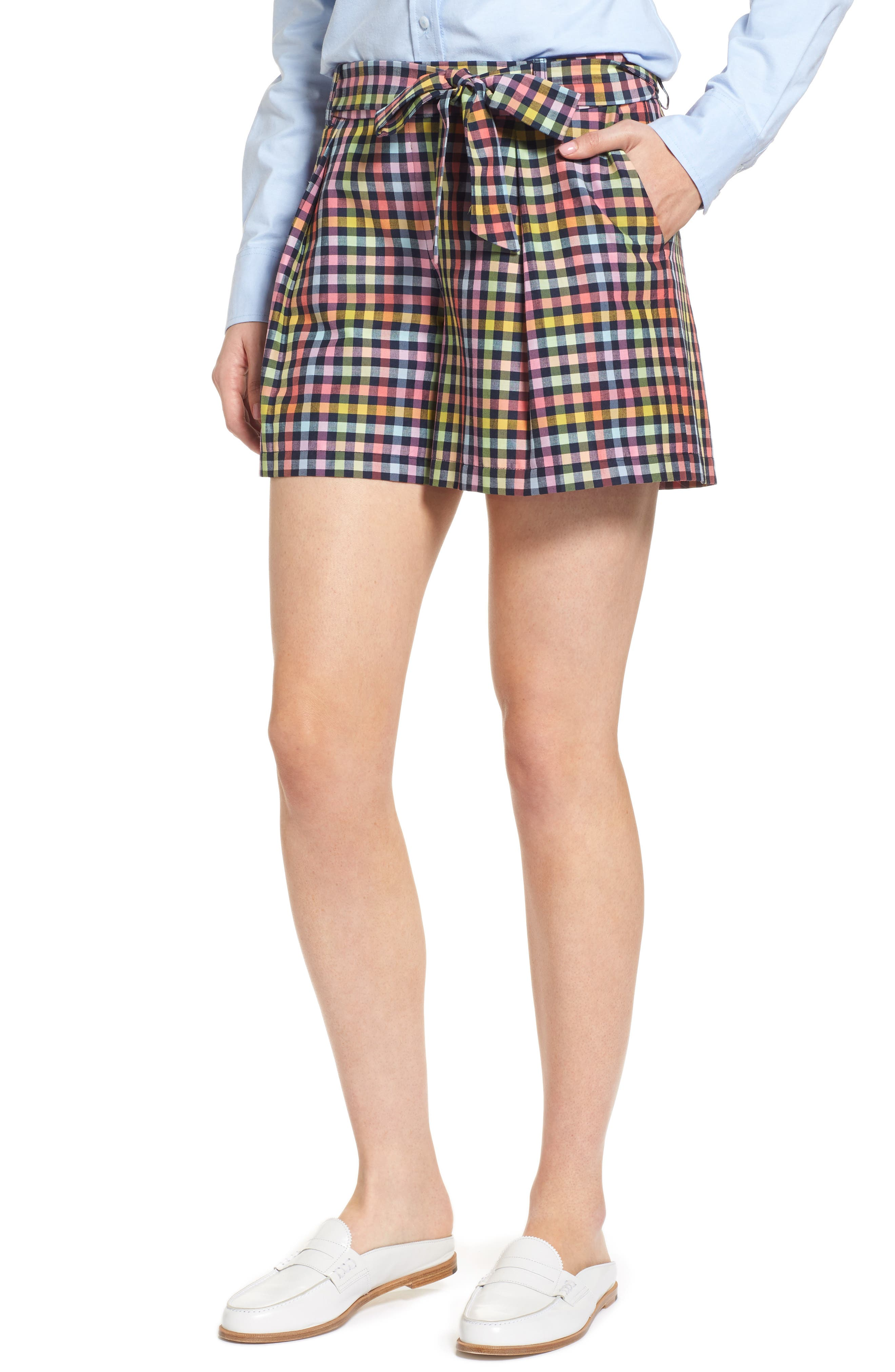 Pleated Plaid Bow Tie Shorts,                         Main,                         color, Navy Multi Check