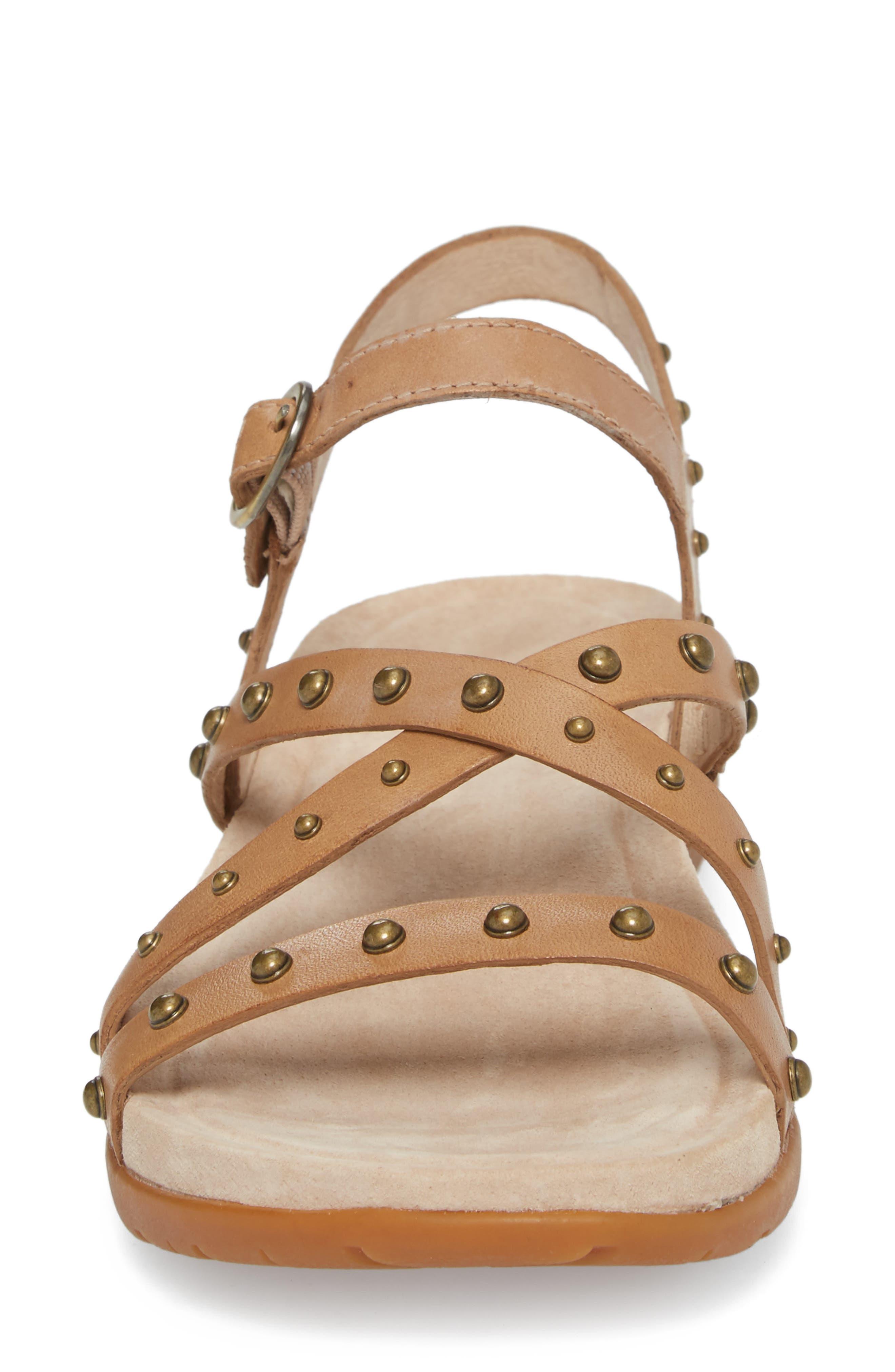 Brigitte Studded Strappy Sandal,                             Alternate thumbnail 4, color,                             Sand Leather