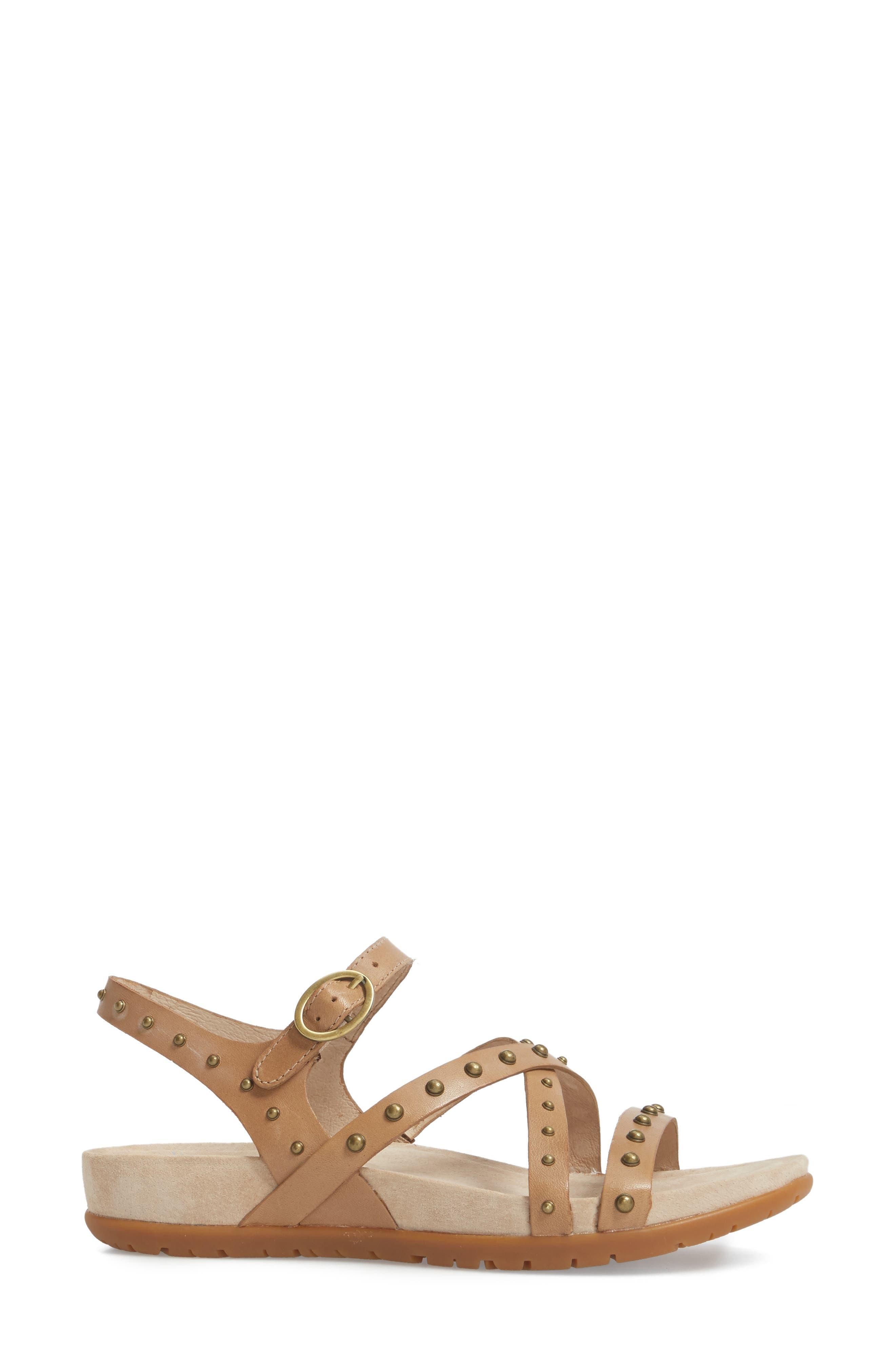 Brigitte Studded Strappy Sandal,                             Alternate thumbnail 3, color,                             Sand Leather